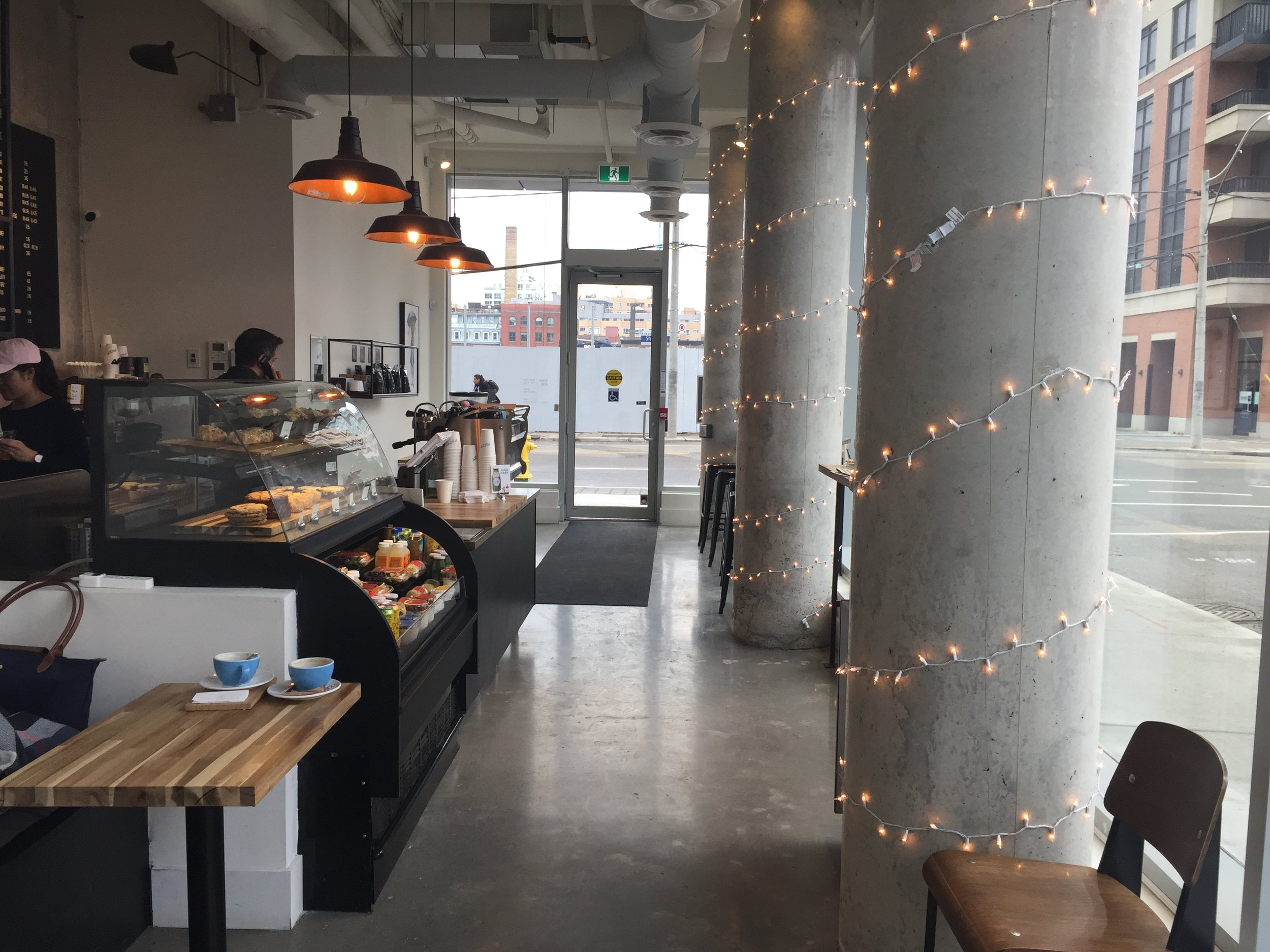 Picture of entrance from inside of Mast Coffee