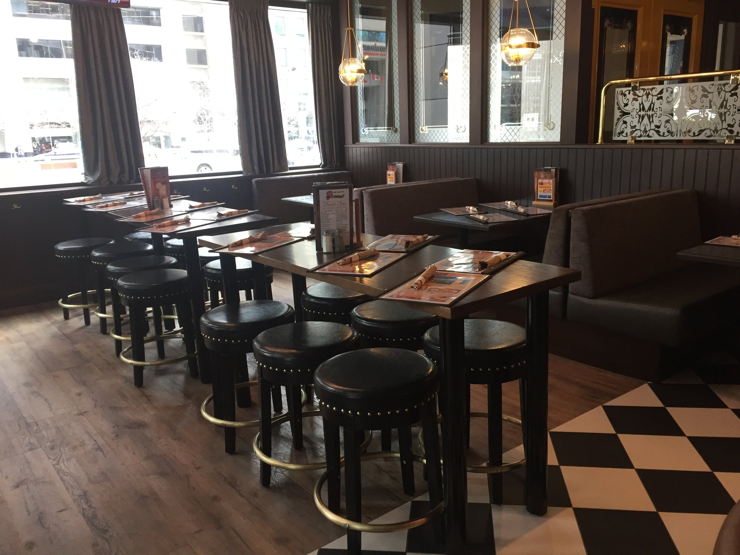 Picture of bar height tables at the Duke of Cornwall