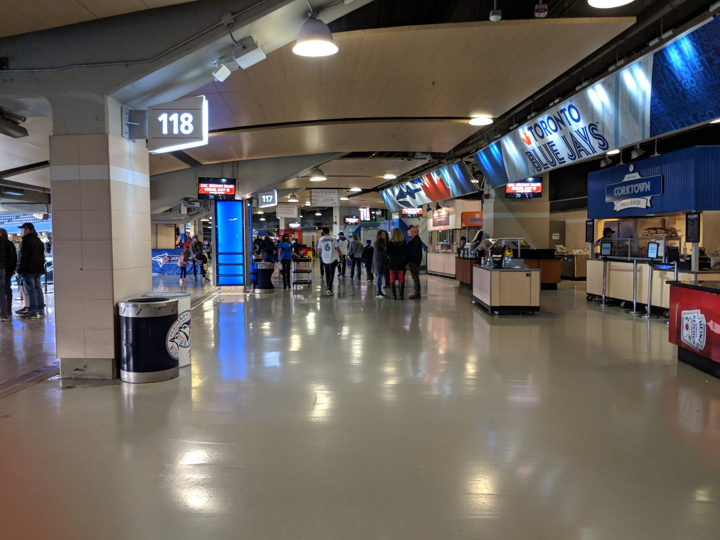 Picture of the wide interior concourse of the Rogers Centre