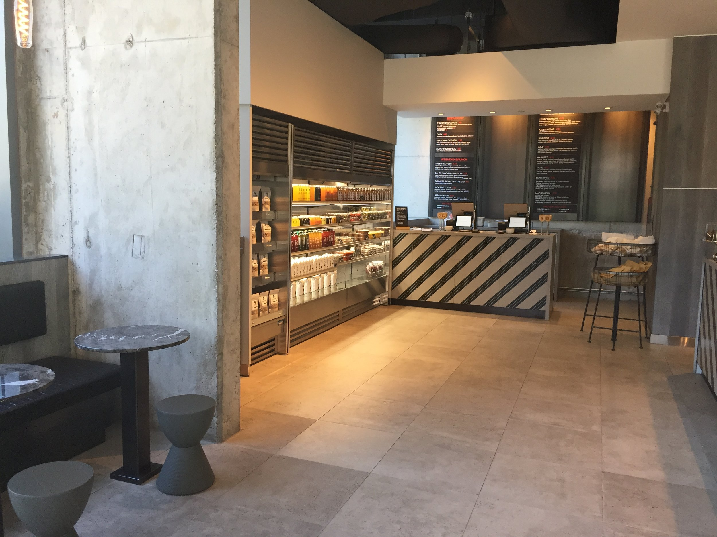 Picture of counter and menu in Impact Kitchen