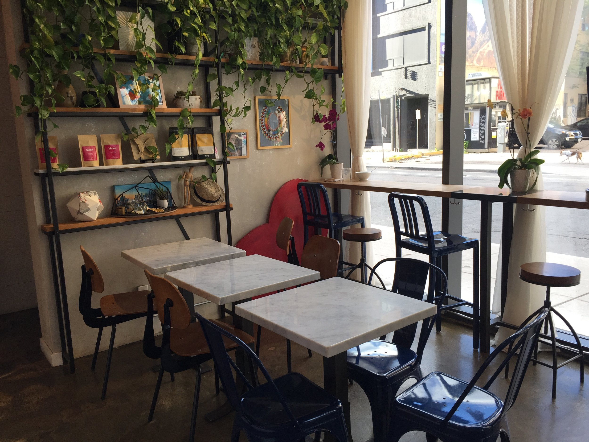 Picture of standard height tables in the alternative cafe