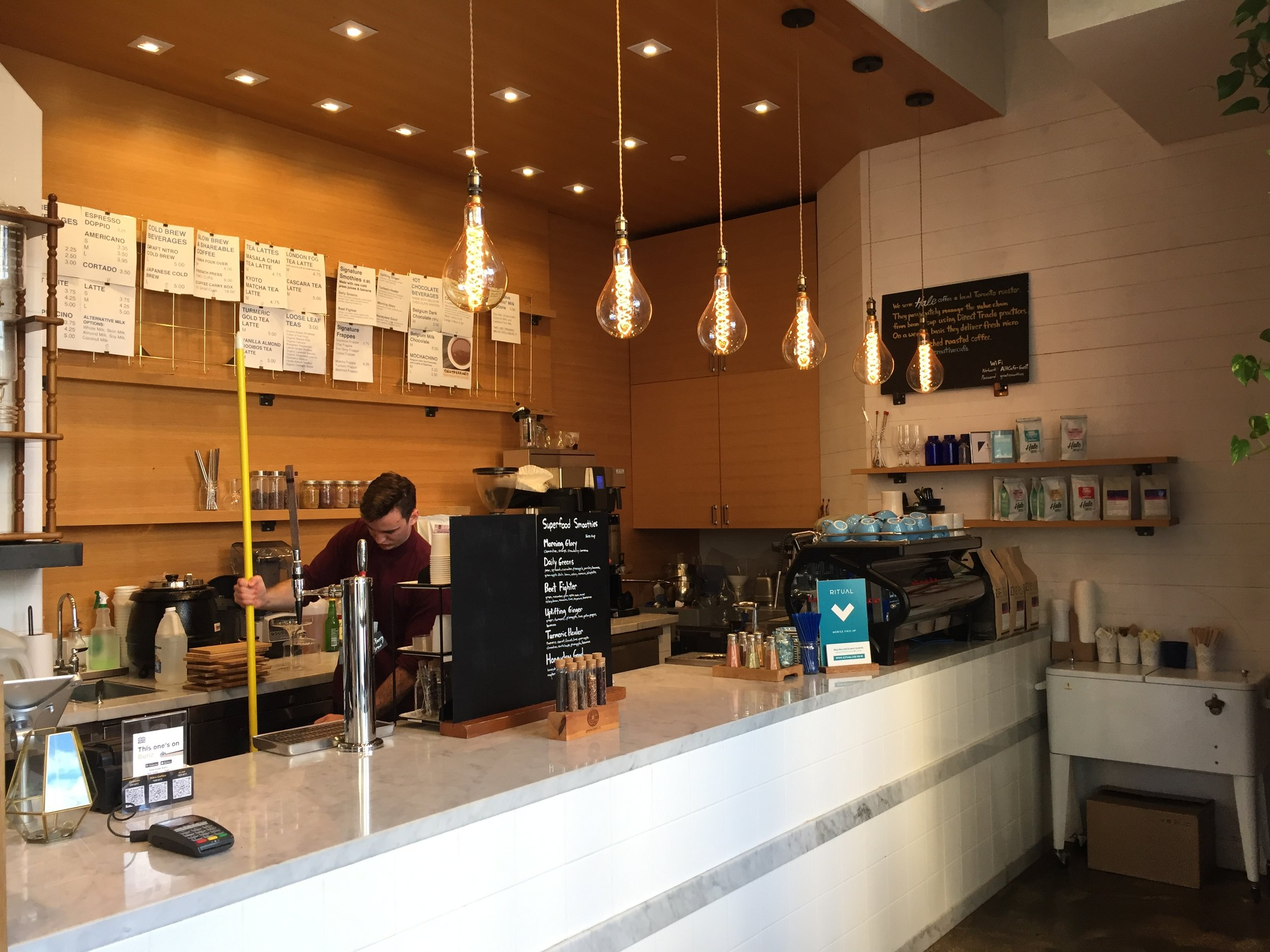 Picture of the front counter at the alternative cafe