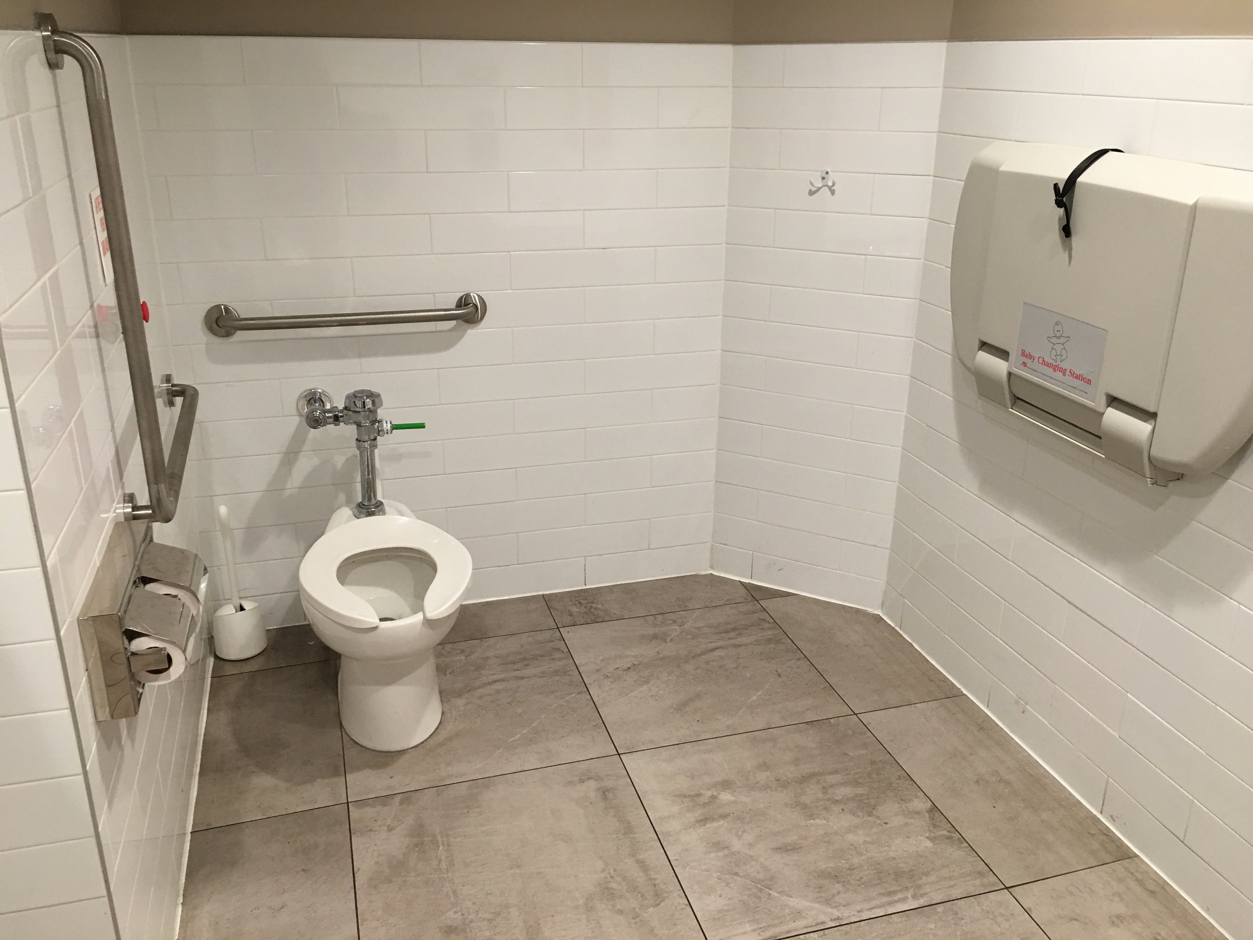 Picture of grab bars surrounding toilet in the accessible washroom
