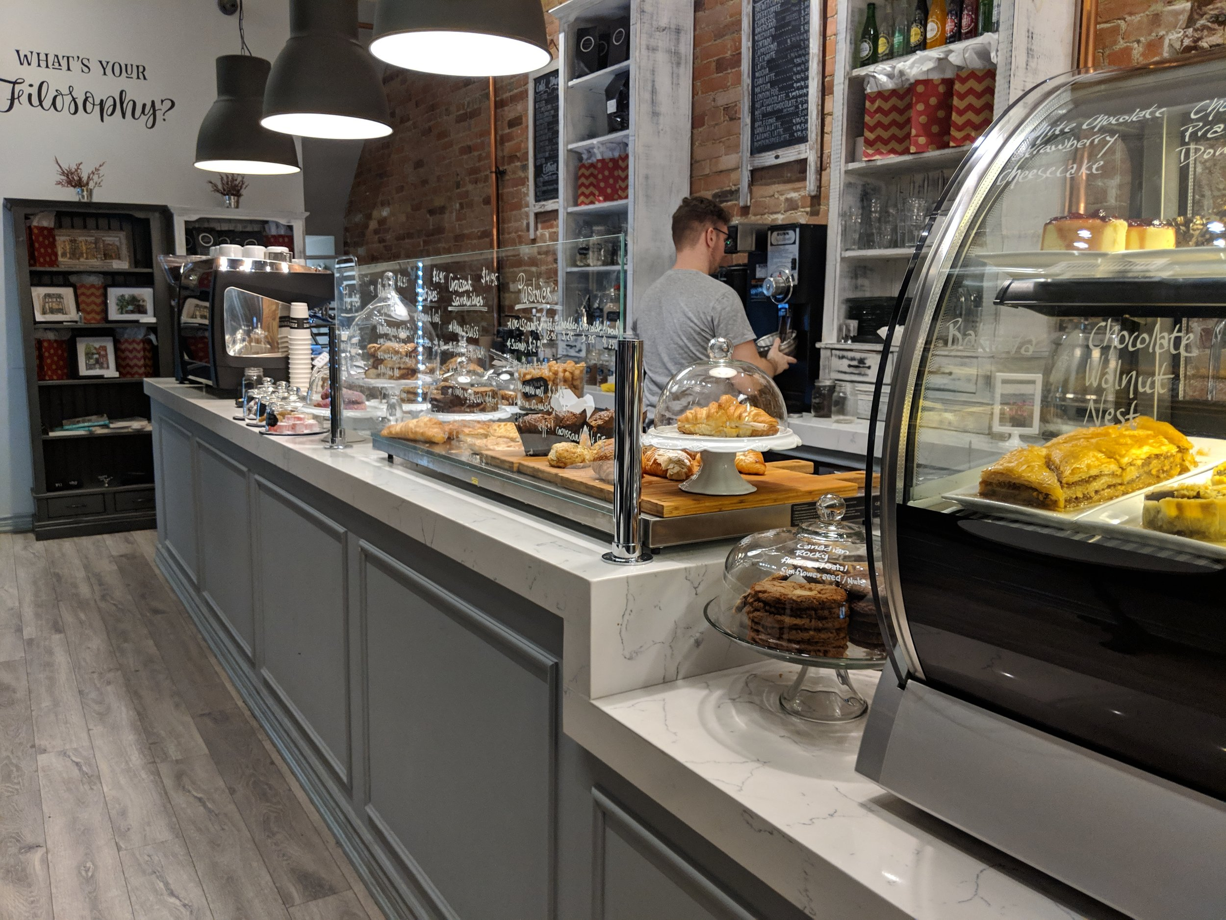 Picture of service counter in Filosophy Pastry and Espresso Bar