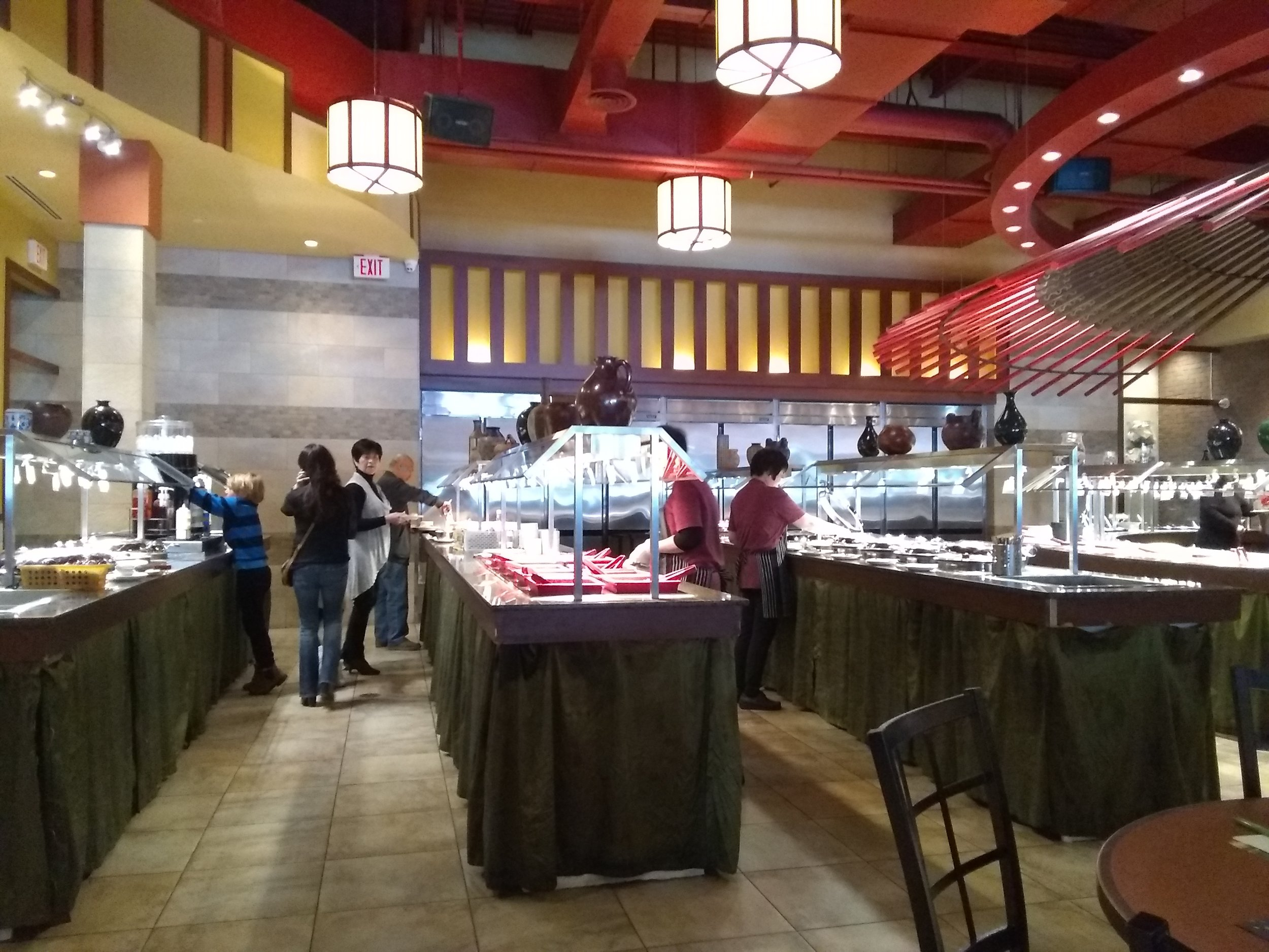 Picture of buffet area of Mongolian Grill with wide walkways