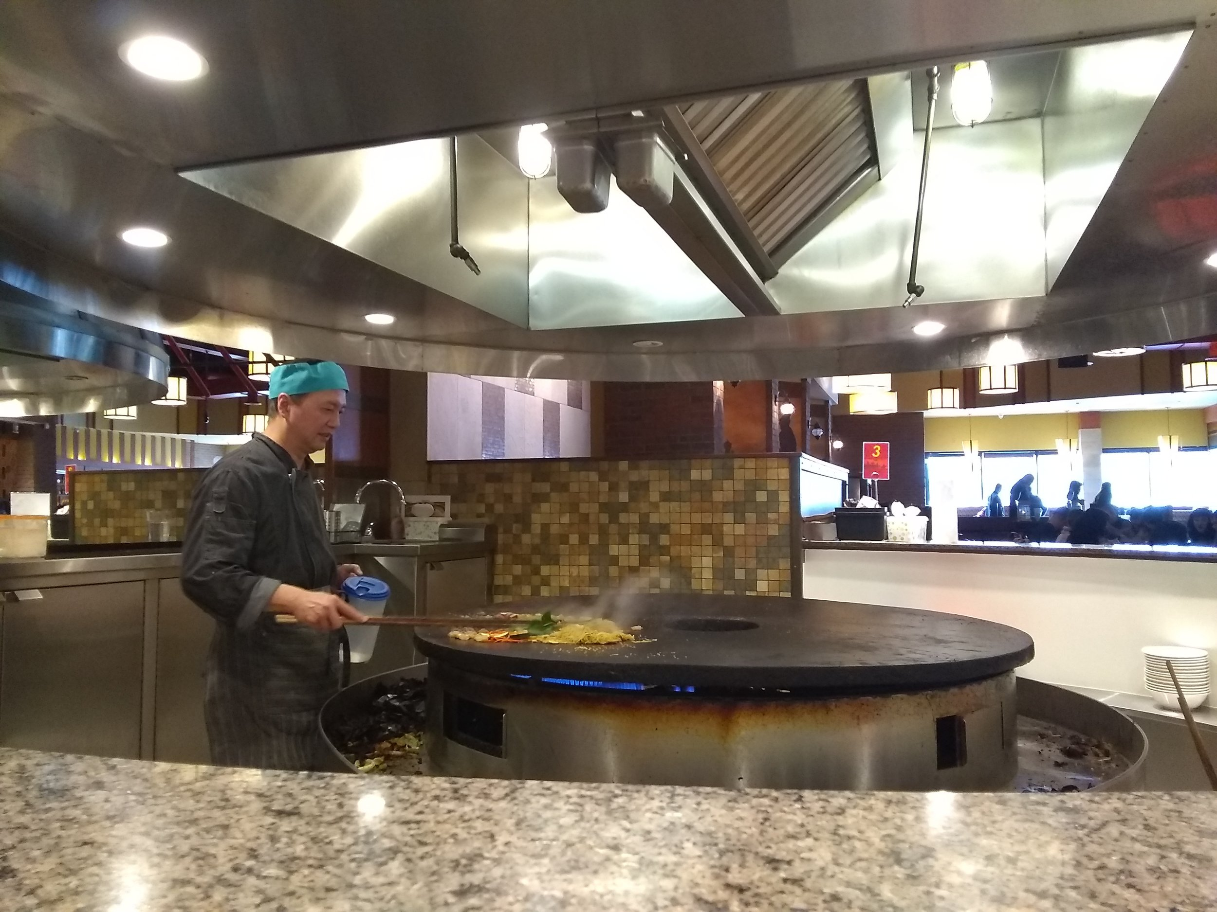 Picture of the stir-fry section of Mongolian Grill