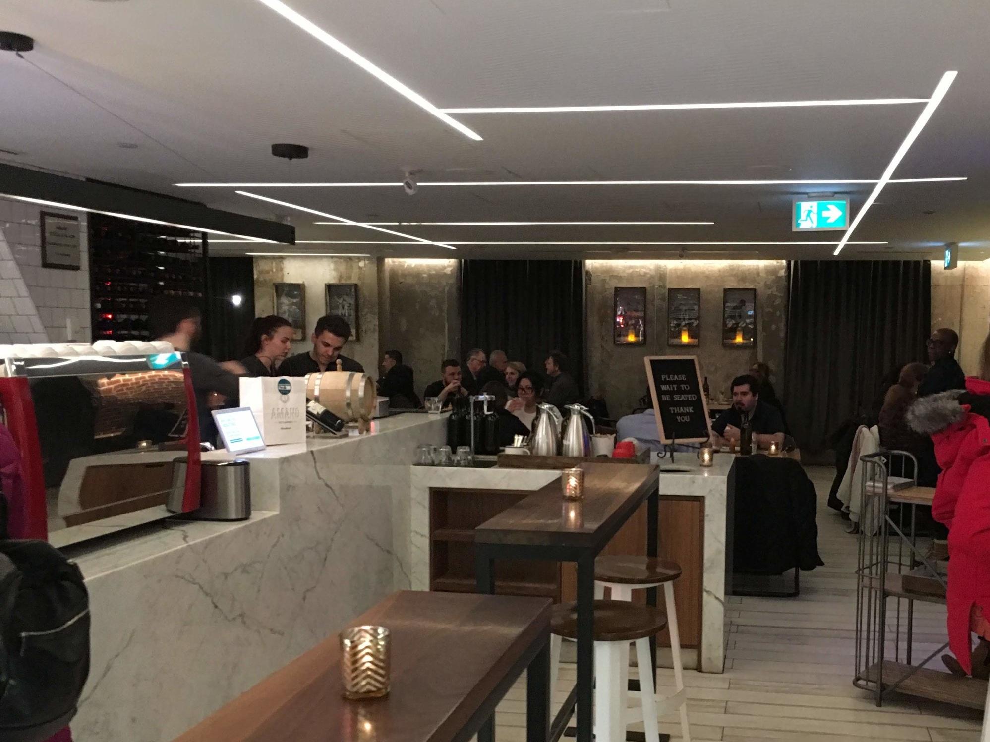 Picture of pasta bar and bar seating at Amano Pasta