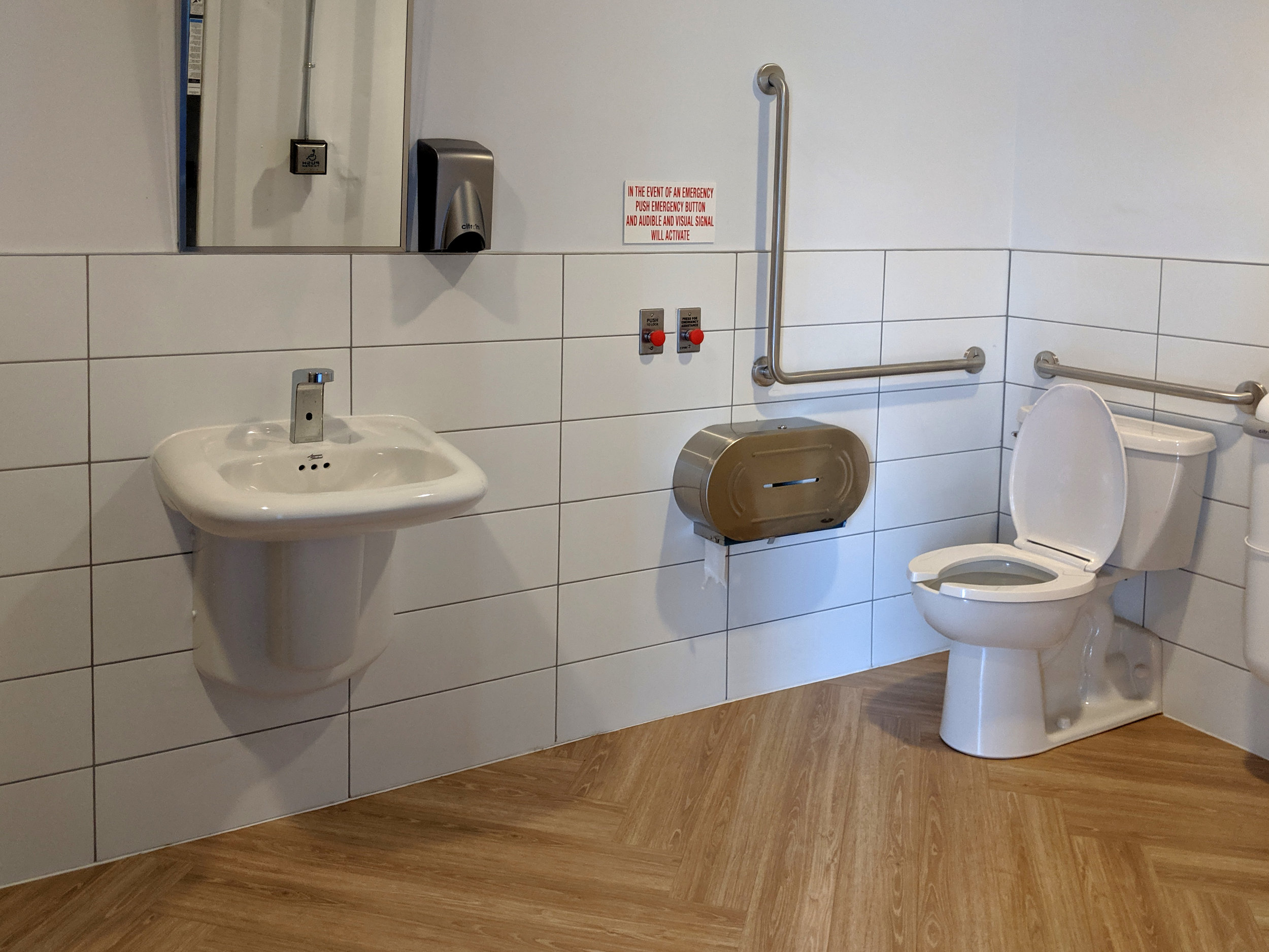 Accessible washroom with grab bars