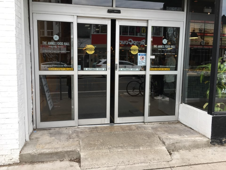 Picture of the automatic sliding doors in front of the Annex Food Hall