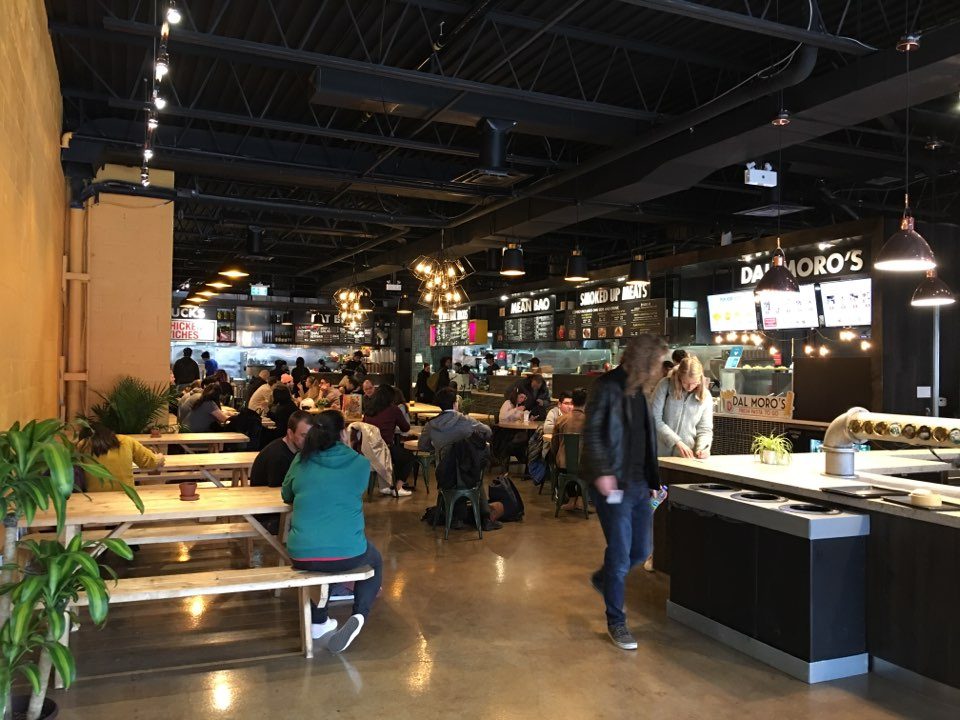 Picture of the standard height tables at the Annex Food Hall