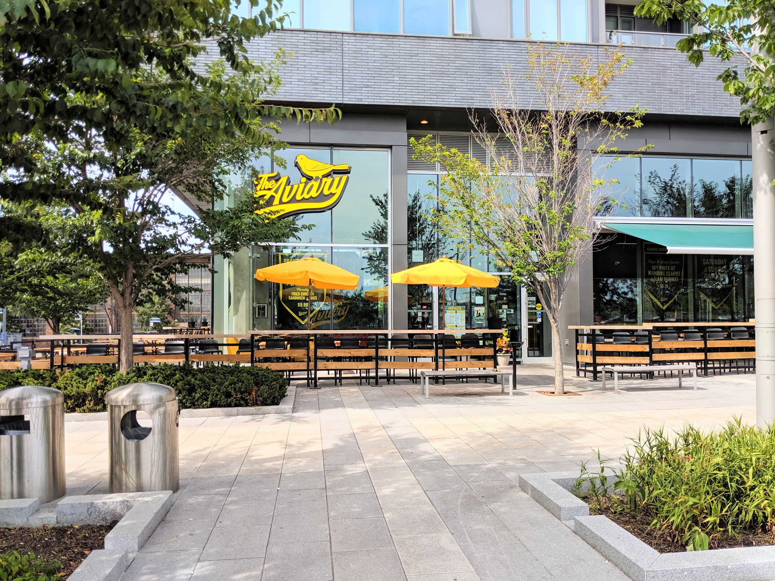 Picture of the wide exterior of the Aviary Brewpub