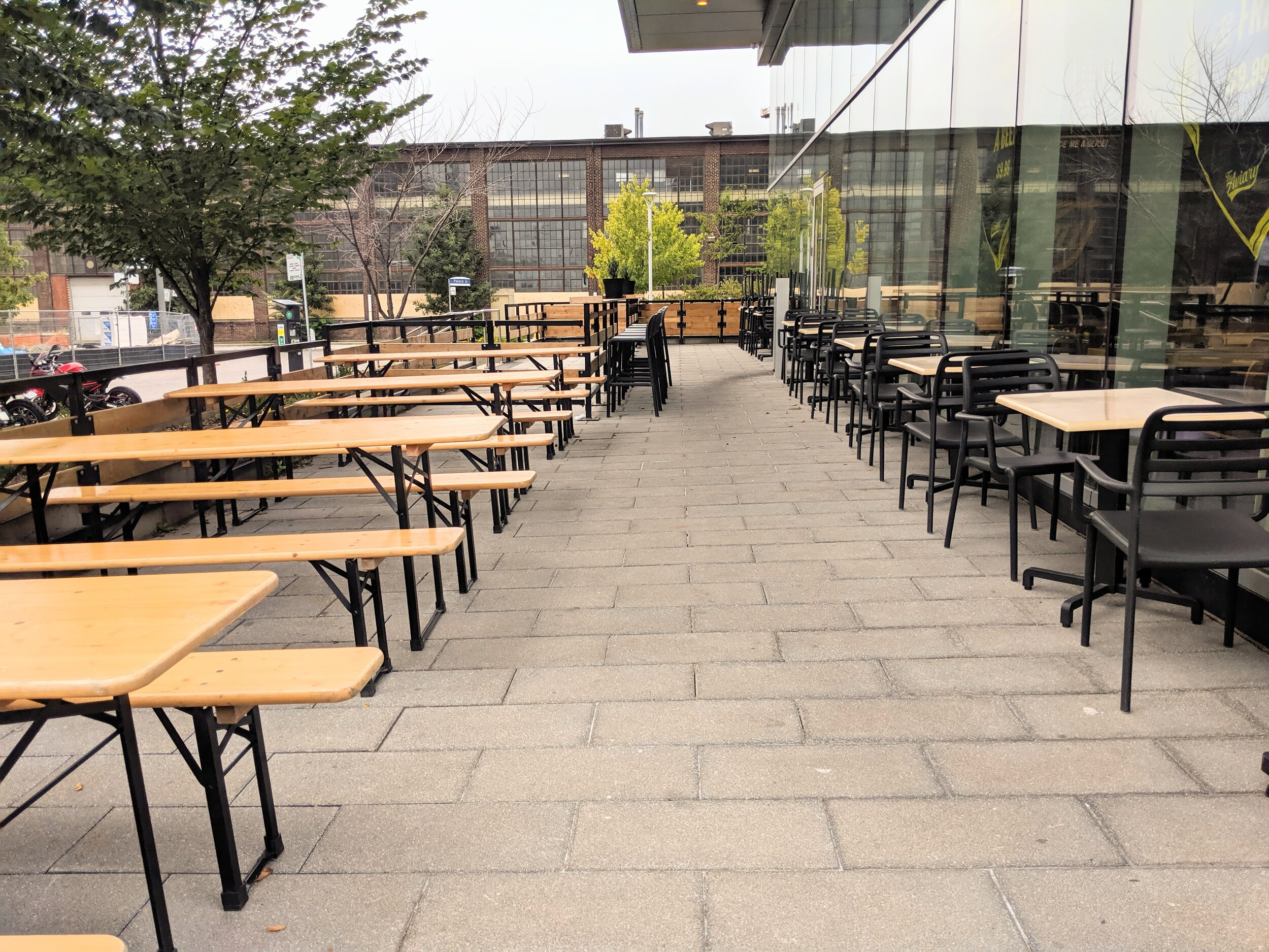 Picture of the accessible benches on the patio
