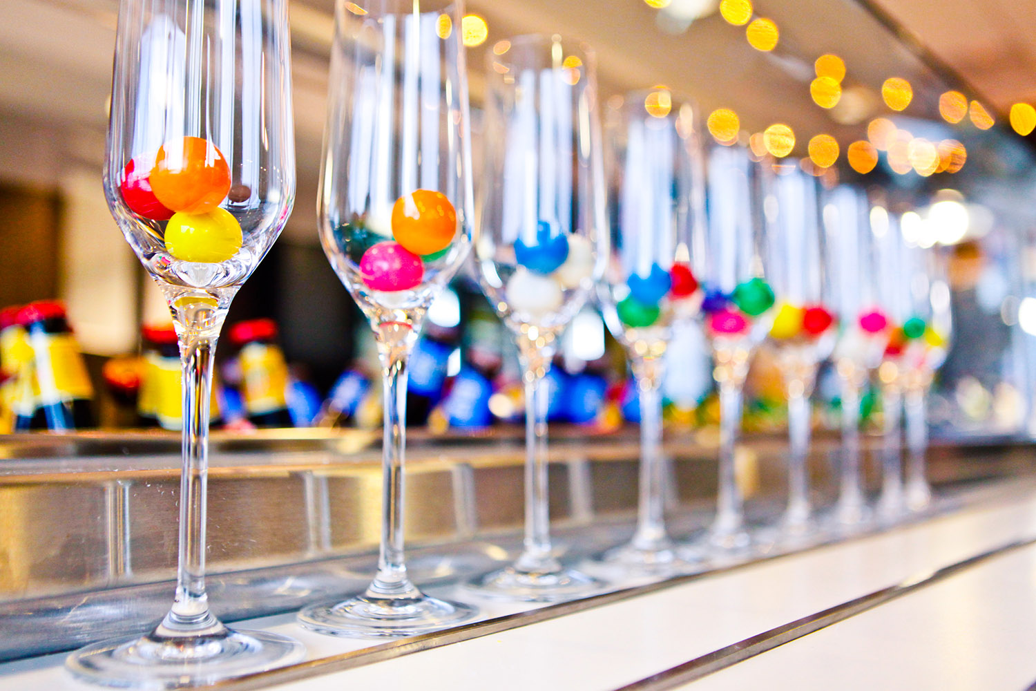 gum ball champagne glasses