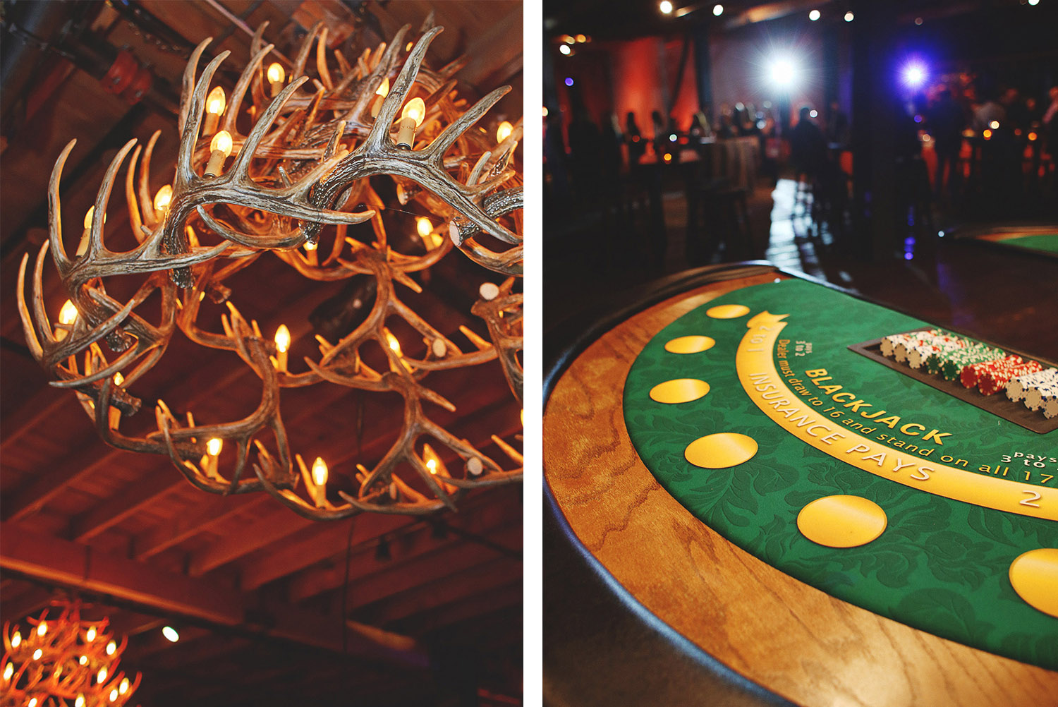 antler chandelier and blackjack table
