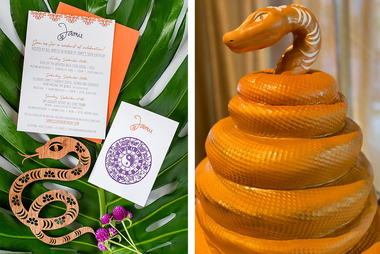 snake cake and snake invitations