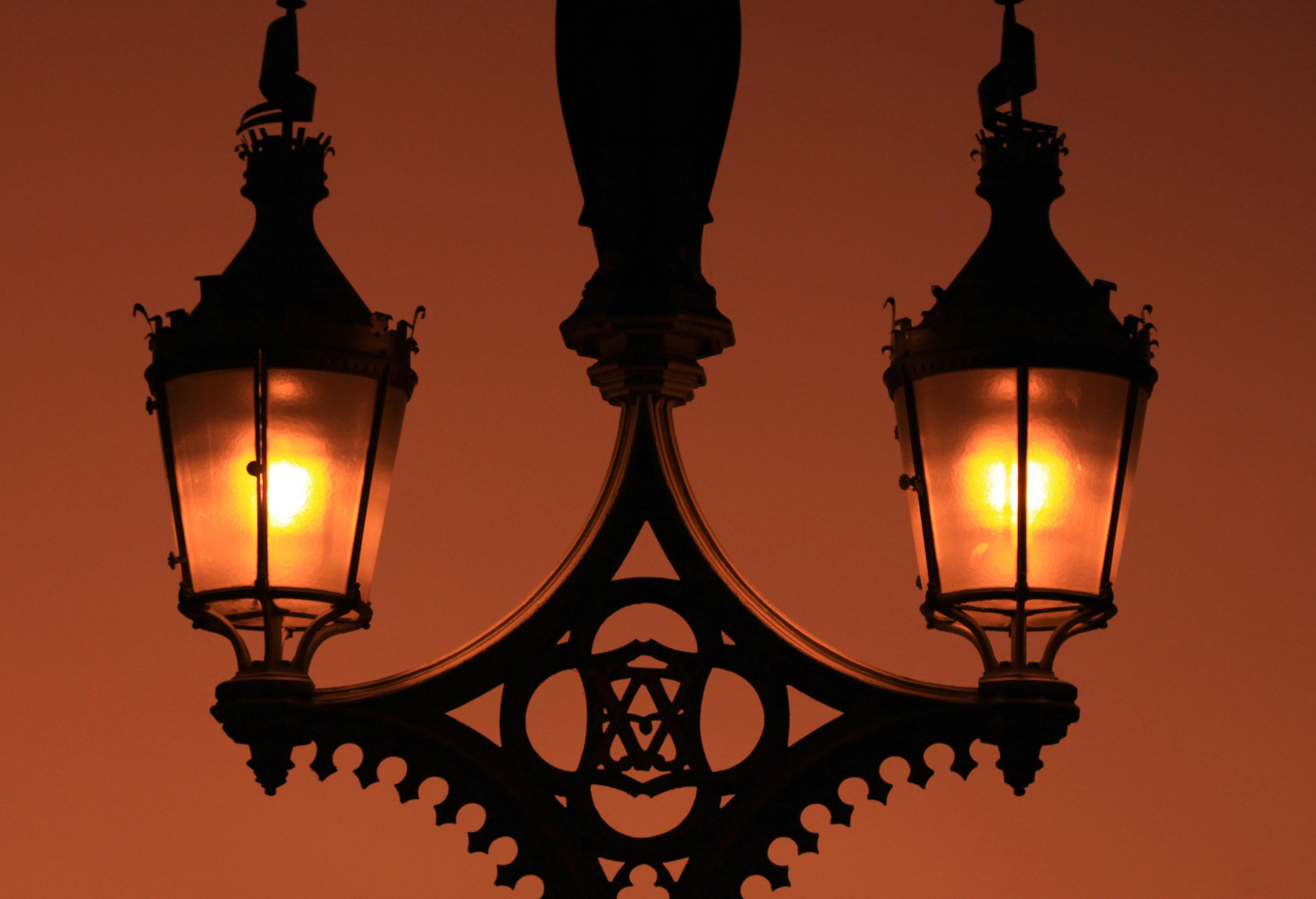 Street Lamps at sunrise