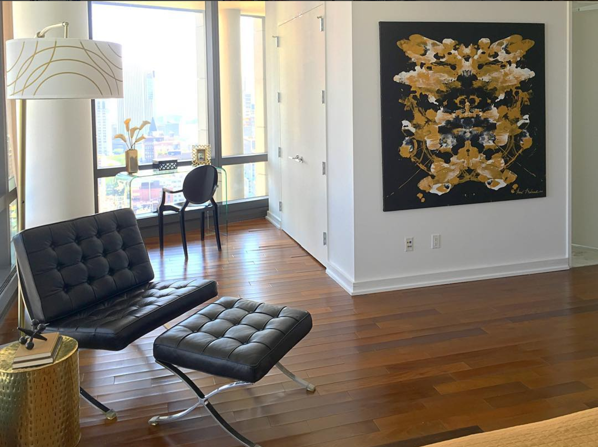 Downtown loft showcasing the psychological quality of the Black and Gold collection.