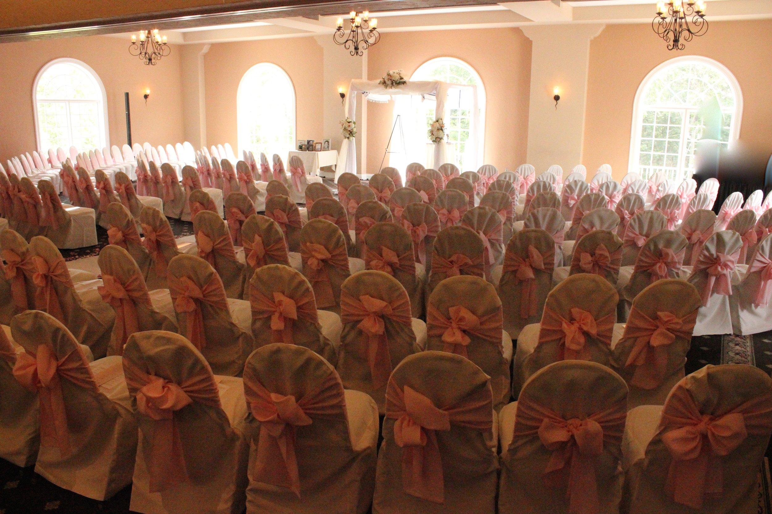 Chuppah and Hillcrest Country Club ballroom ready