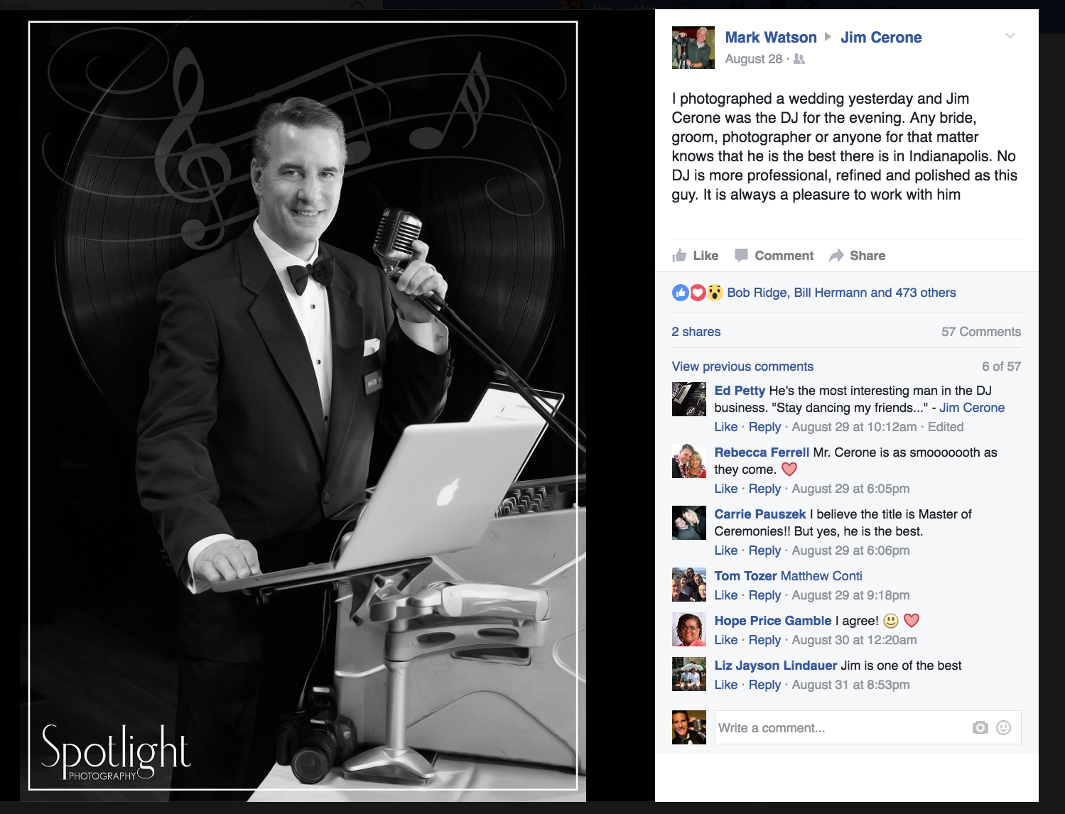 Thank you Mark Watson of  Spotlight Photography  for your photo and very kind Facebook post