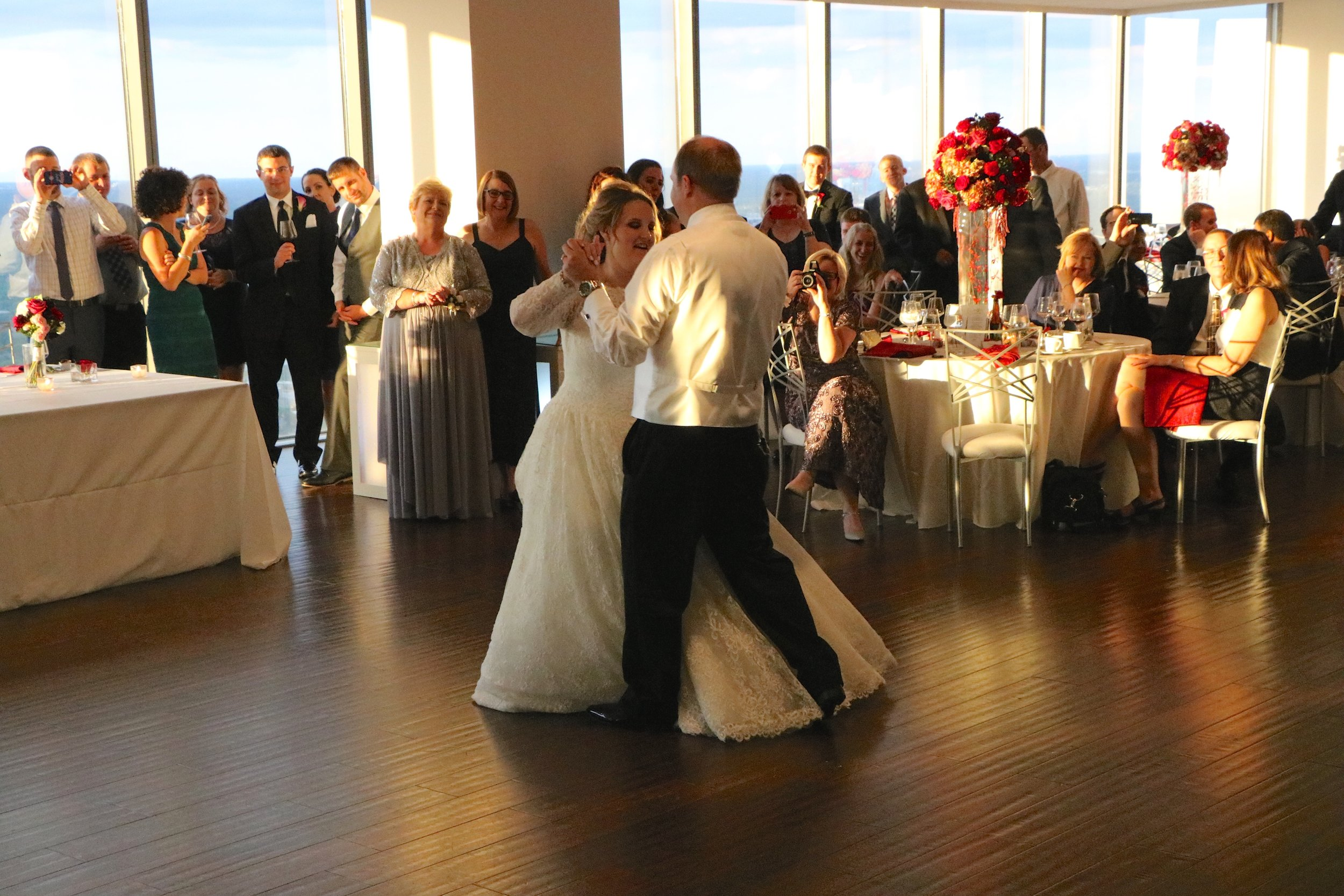 """Their 1st dance choreographed to """"The Way You Look Tonight"""" by Frank Sinatra"""