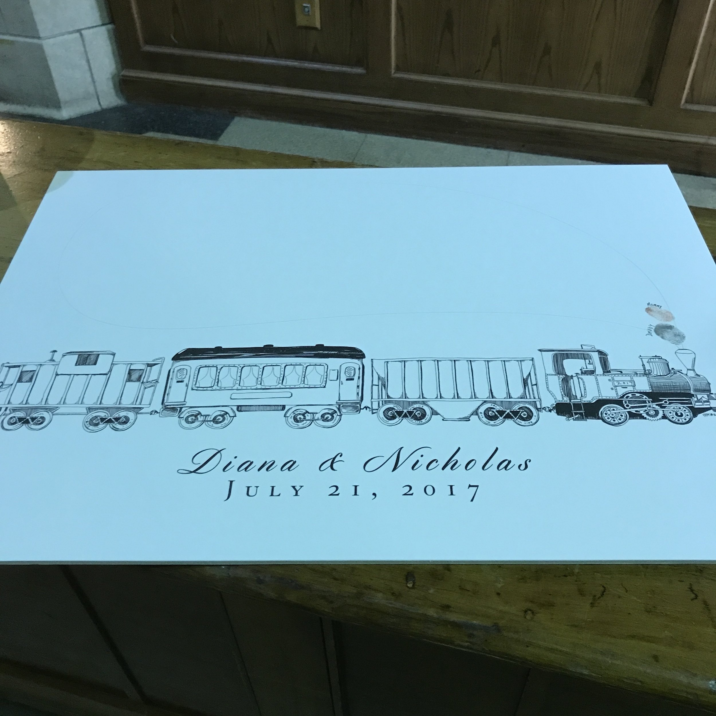 """Diana & Nick's """"guest book"""" for their wedding at historic  Union Station Indianapolis"""