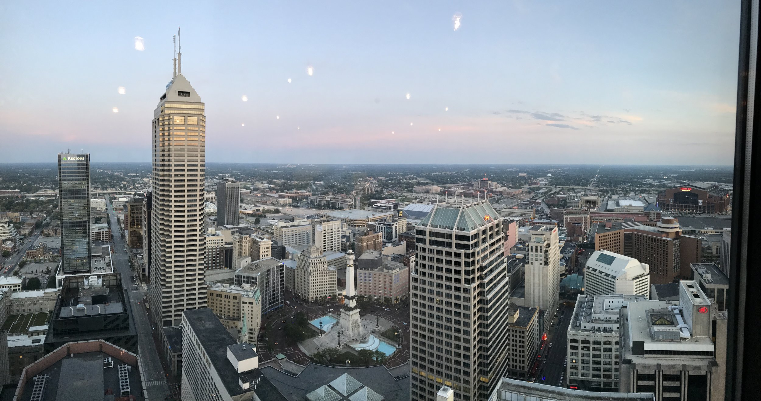 Perfect evening view of Indy from Carrie & Kyle's reception at the  Skyline Club
