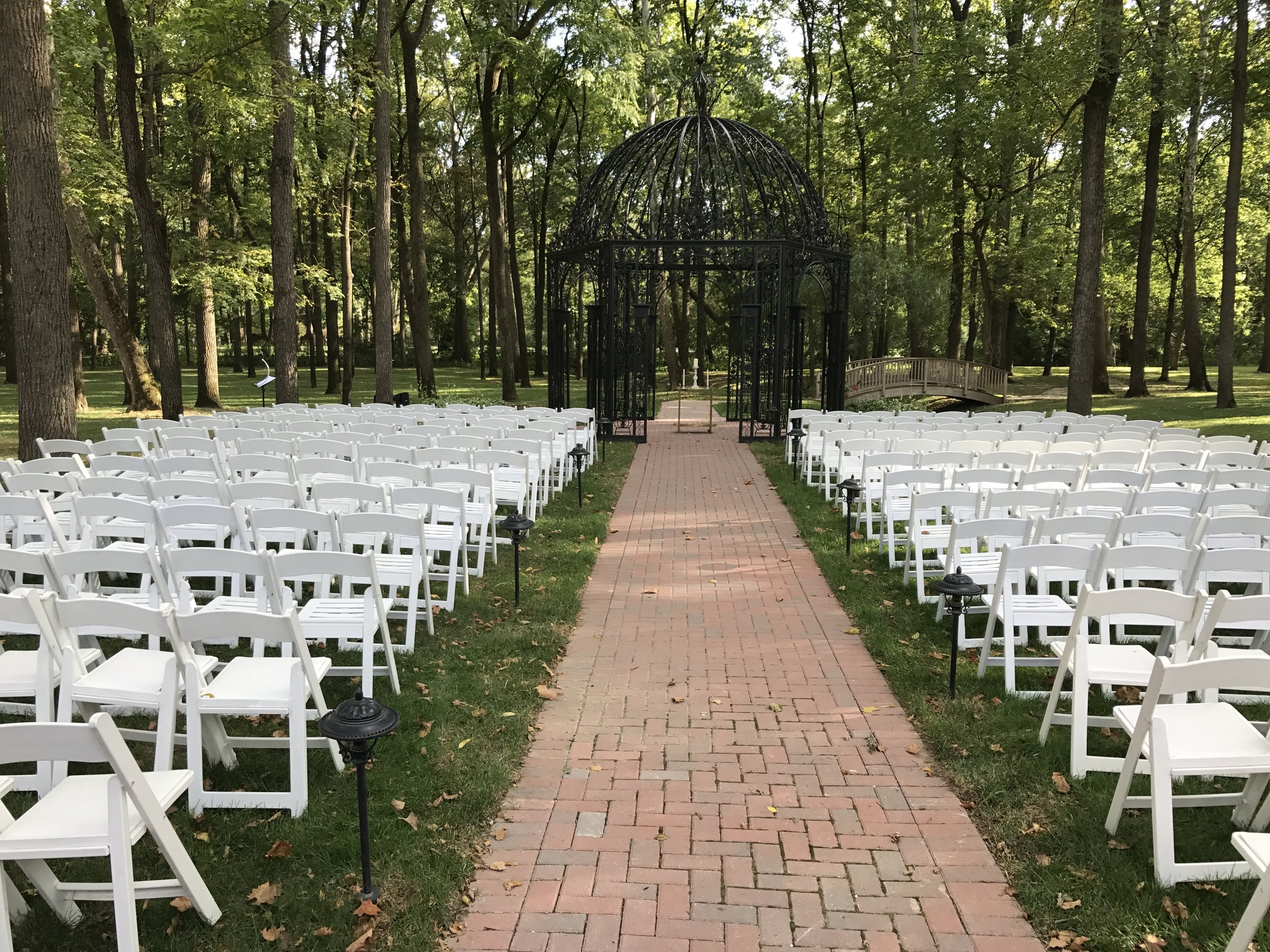 The gazebo at Black Iris Estate set for Abbey & Stephen's ceremony (in perfect weather!)