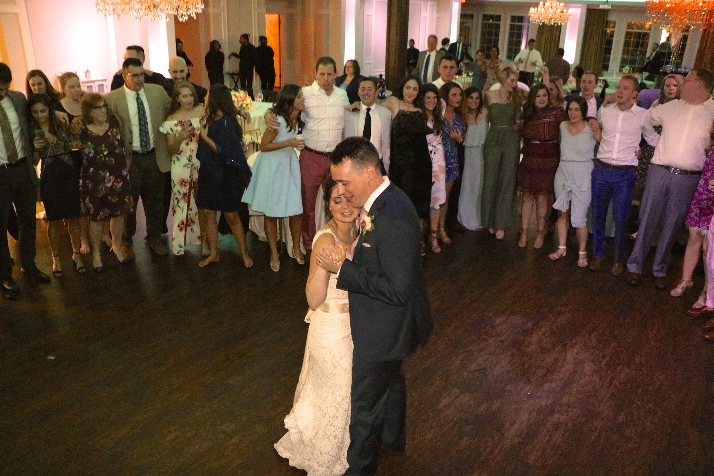 "Every guest we started with sings along for Abbey & Stephen's last dance ""Piano Man"""