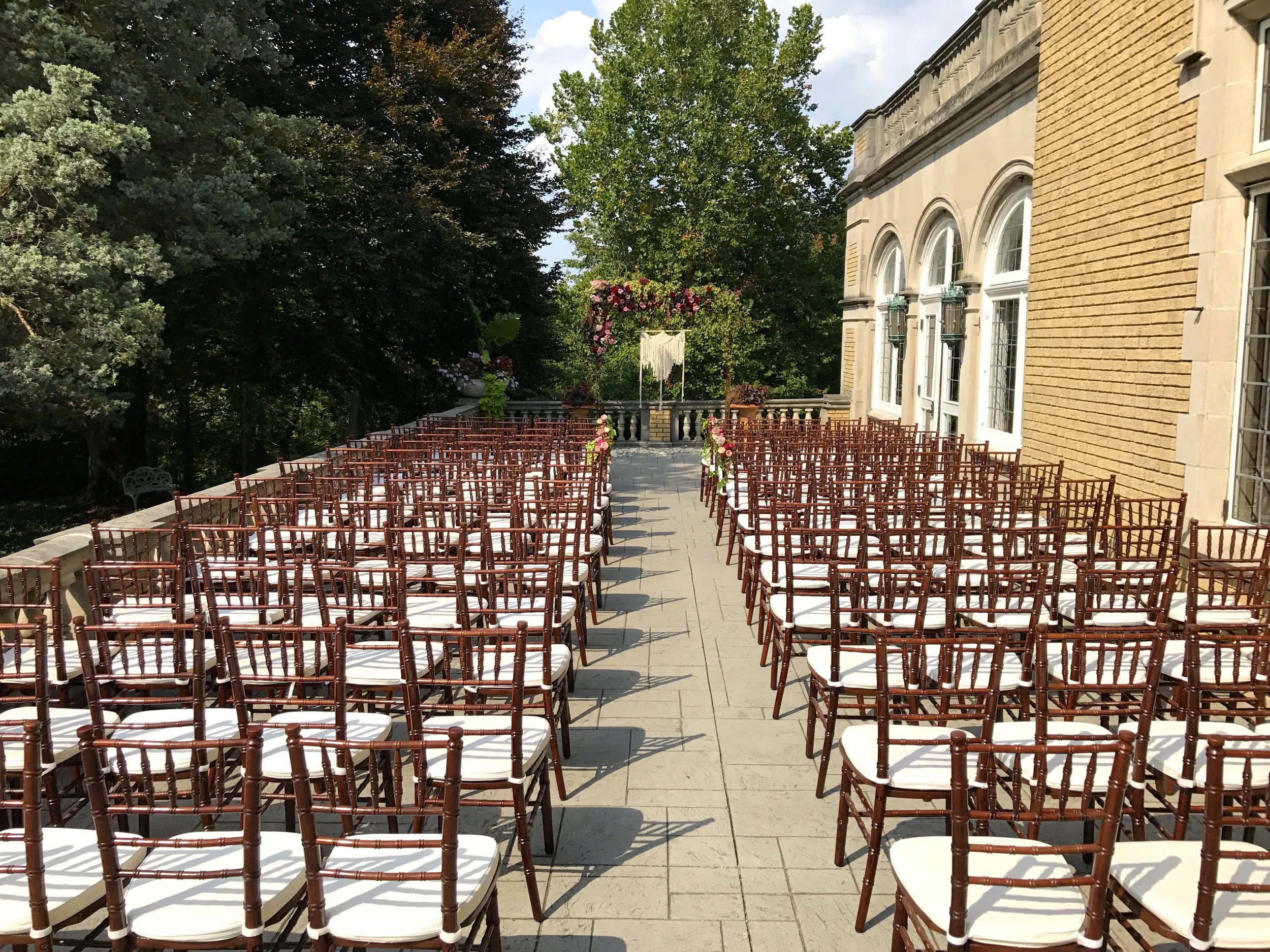 Simona & Al's Ceremony set on the terrace at Laurel Hall