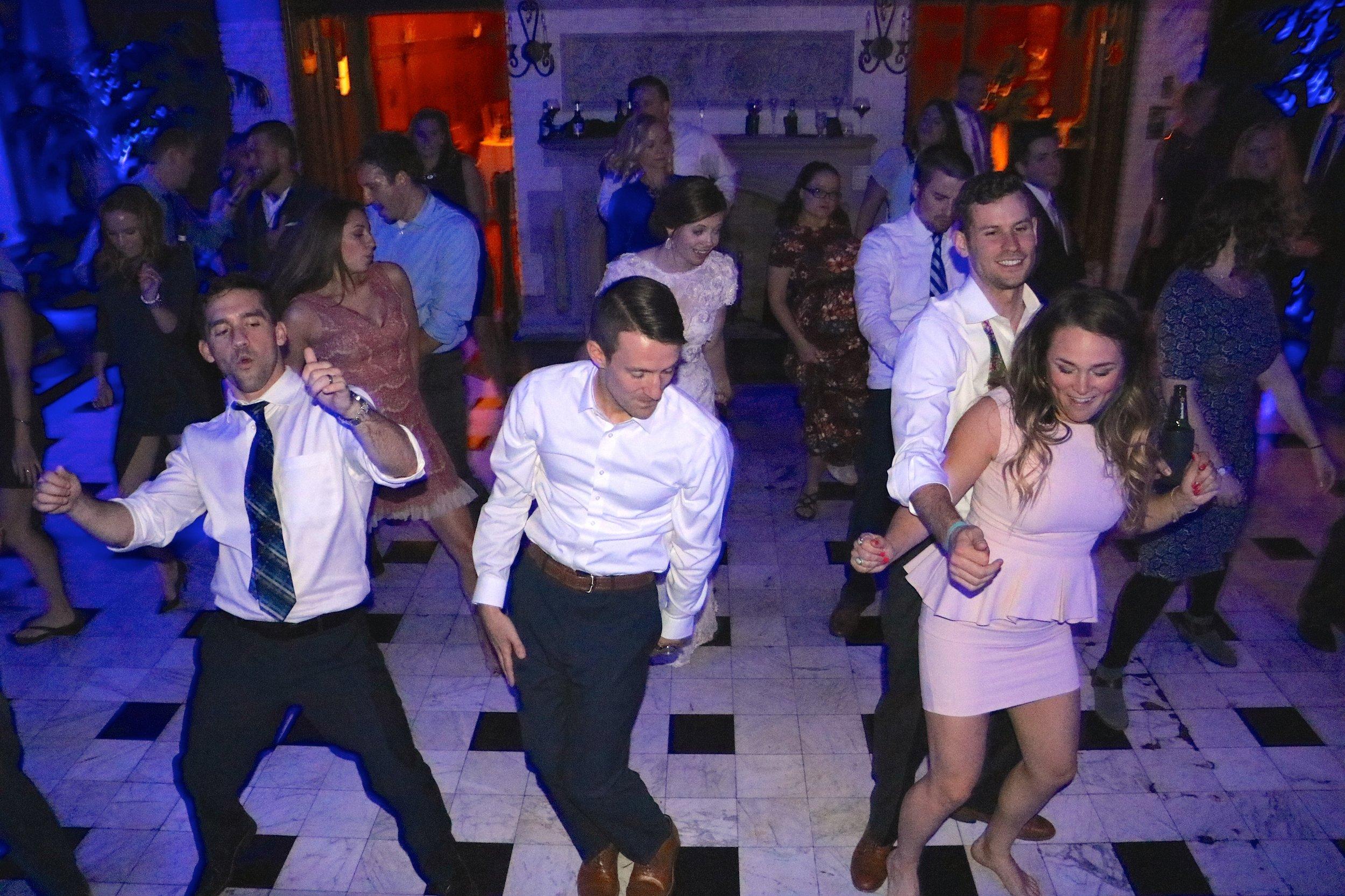 Jessica & Greg lead the dancing by DJ Jim Cerone