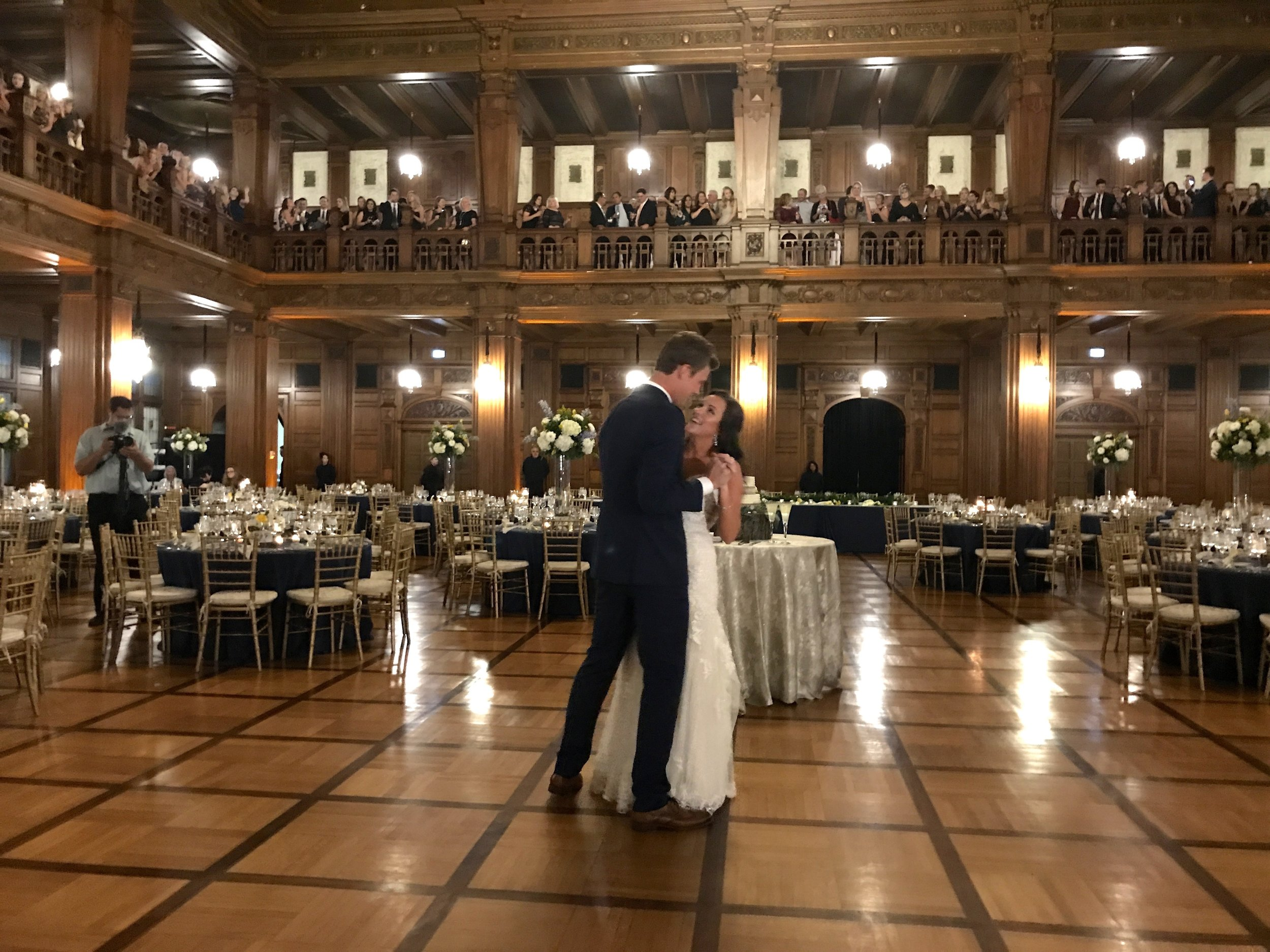 """""""She's Indiana small town...she's All Over the Map n I love her like that"""" - Clayton Anderson Allison & Colten share their first dance while guests watch from above"""