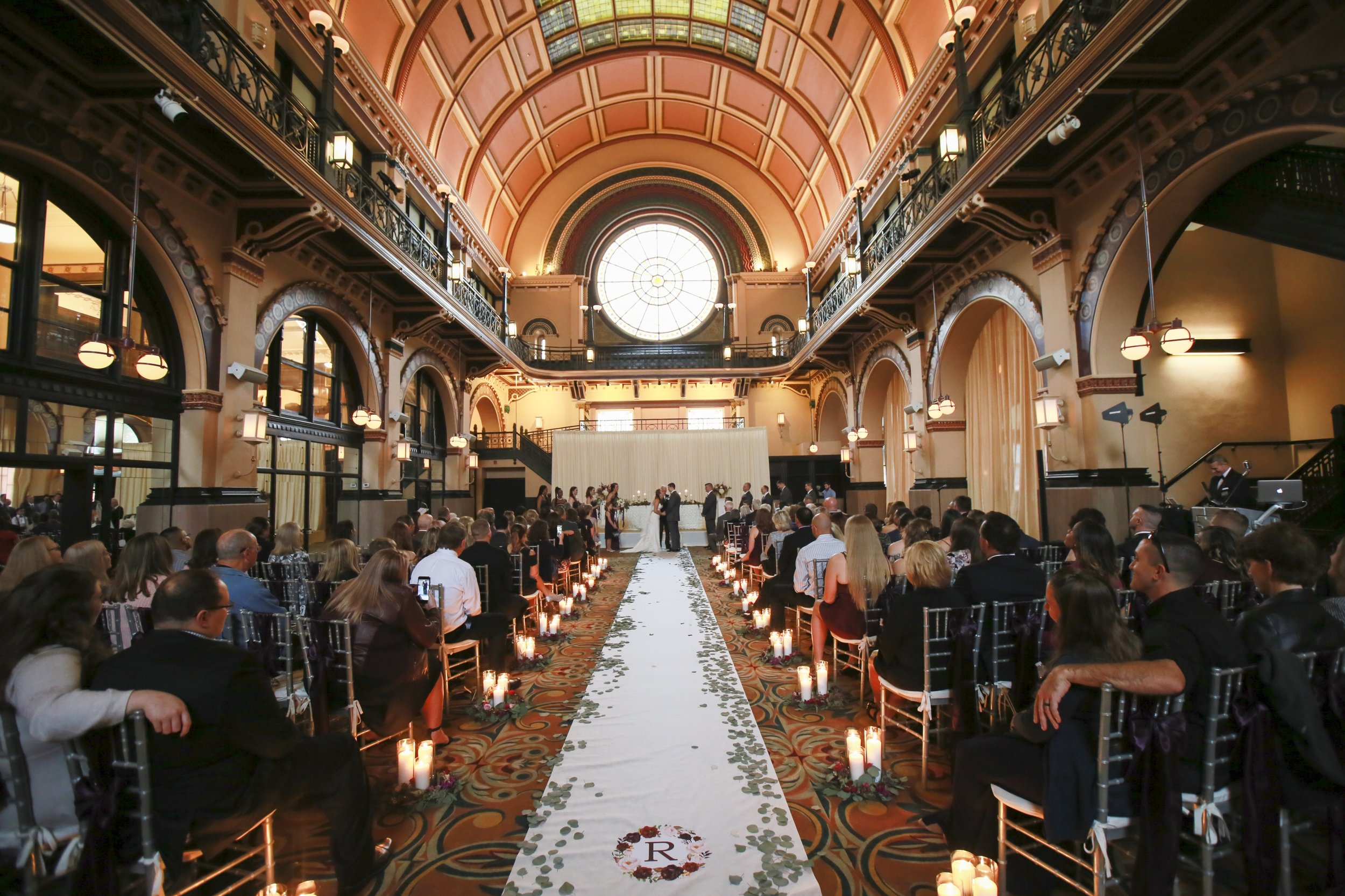 """""""Wow"""" describes Kelsi & Chris' beautiful ceremony in the  Union Station Grand Hall at Crowne Plaza Indianapolis . Photo courtesy  Jennifer Driscoll Photography"""