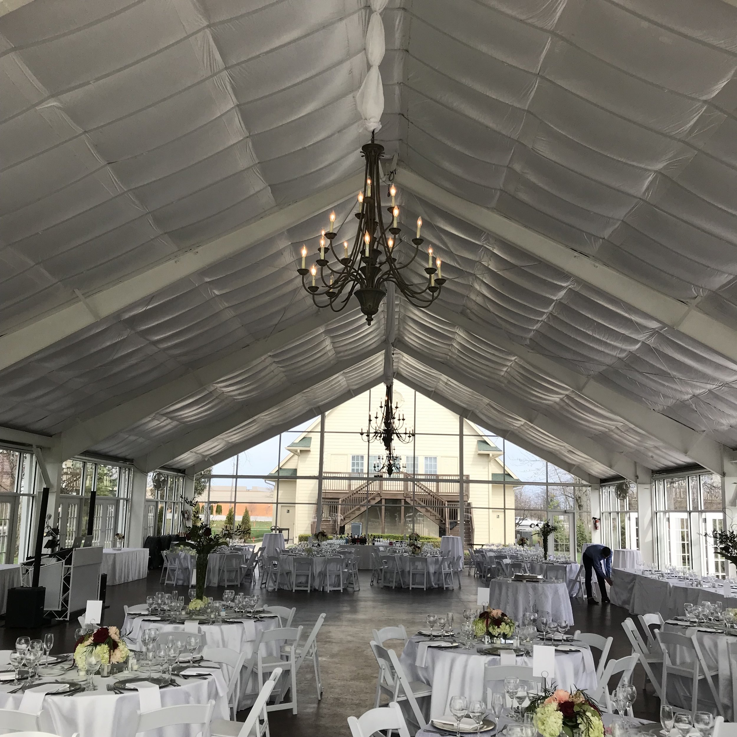 Amanda & Nathan's reception in the  Ritz Charles Garden Pavilion (rain was predicted all week but they lucked out!)