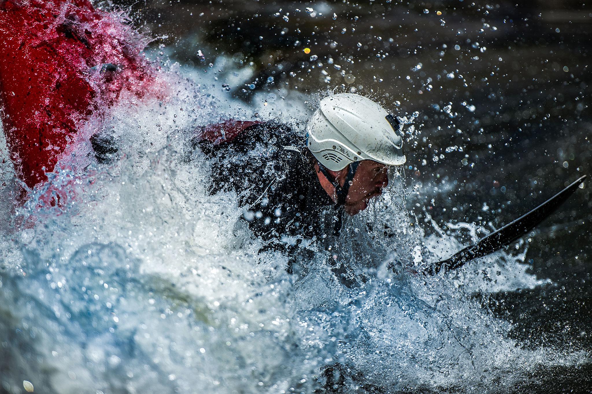A kayaker navigates the Snake River outside of Jackson, WY