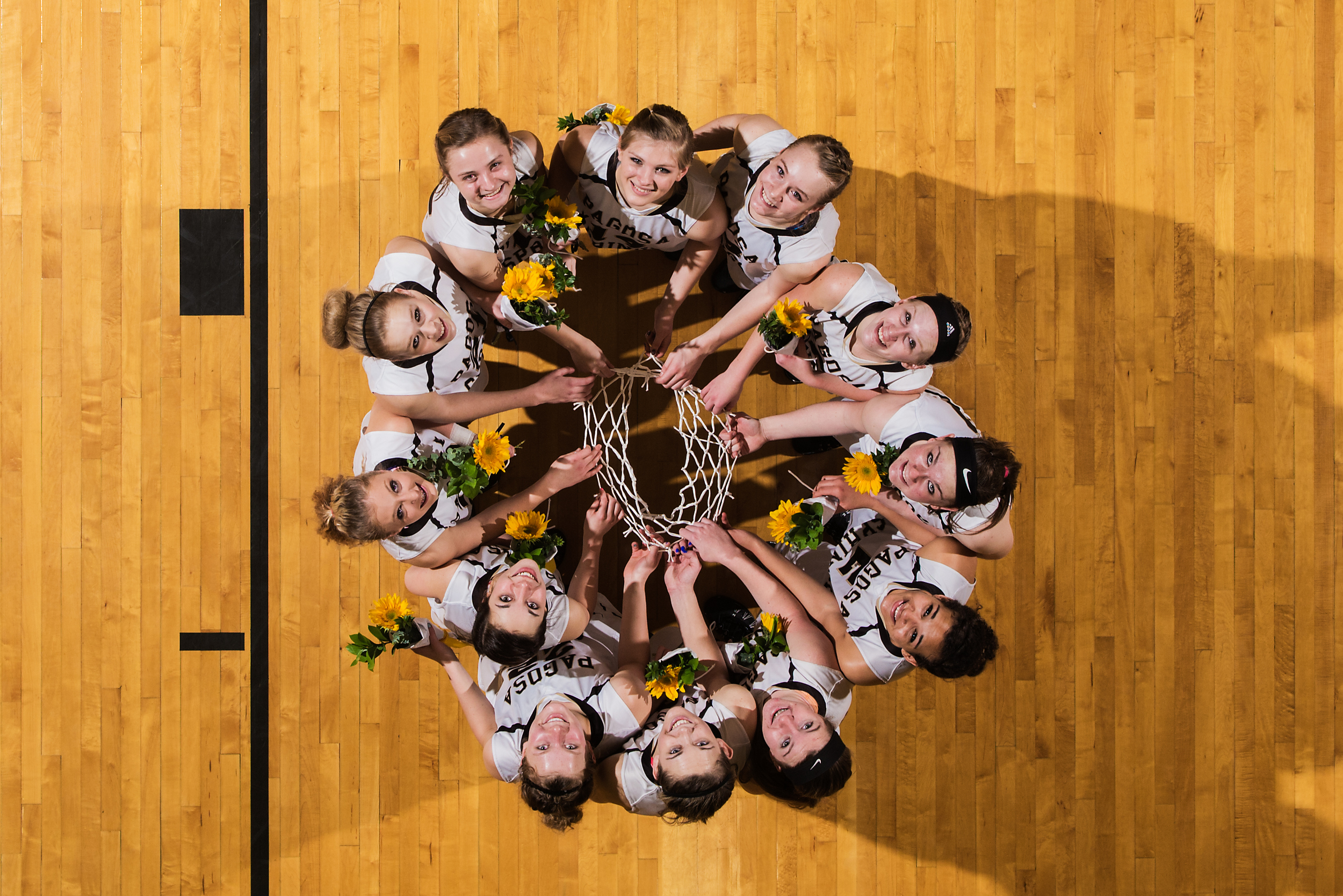 Basketball team championship portrait with remote camera
