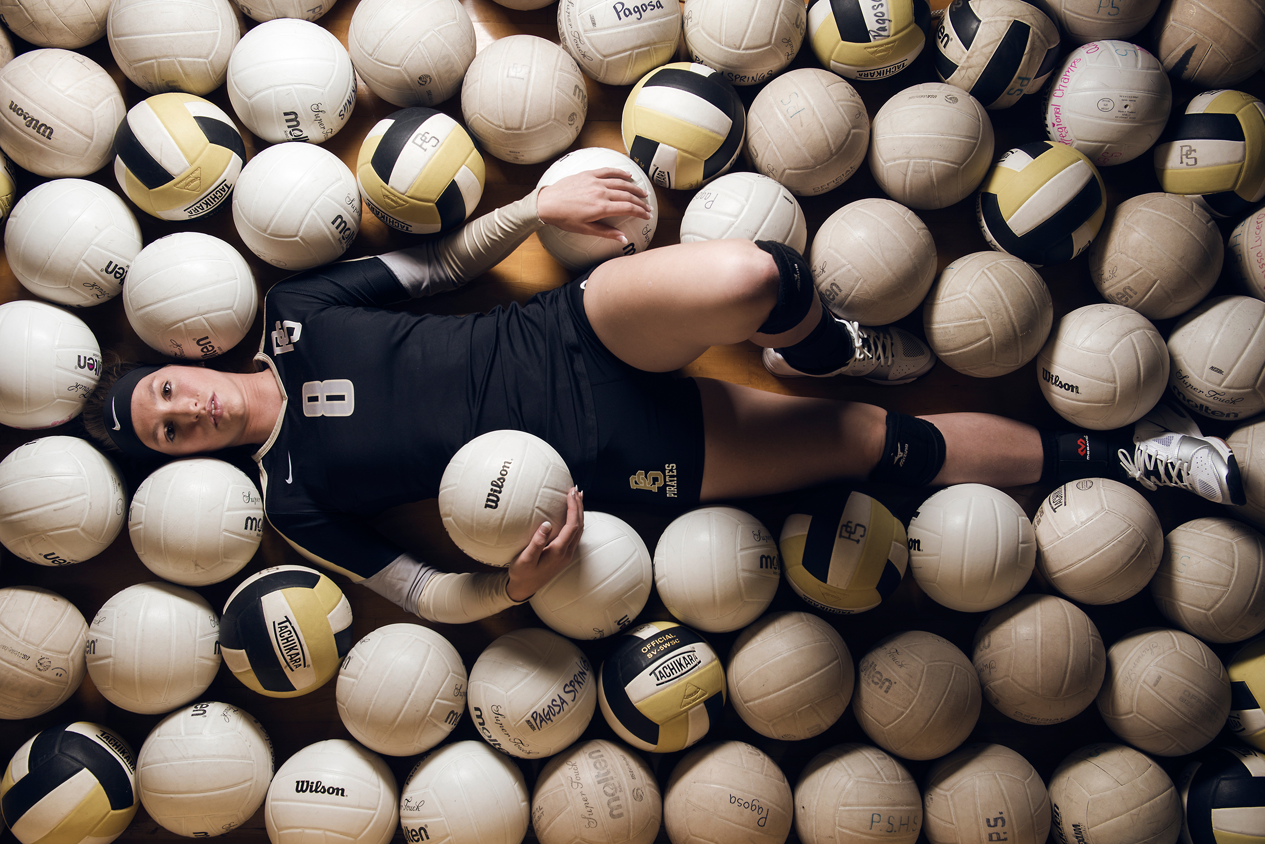 Creative portrait of female volleyball player