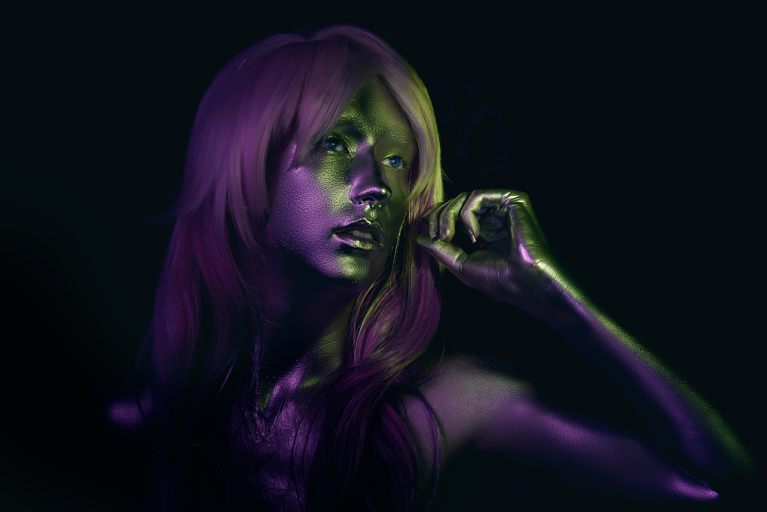 Creative lighting portrait of a female model