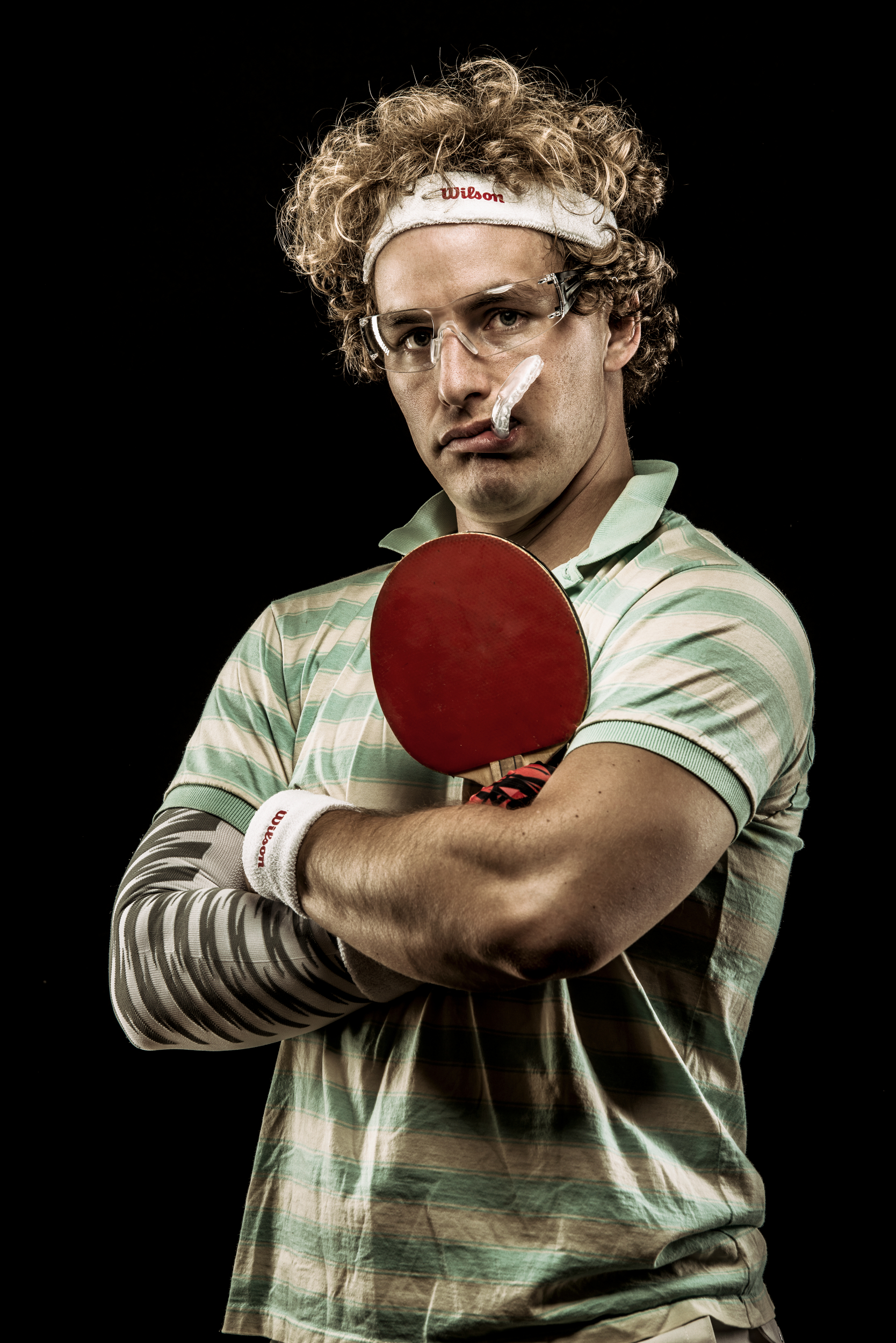 Funny table tennis player portrait