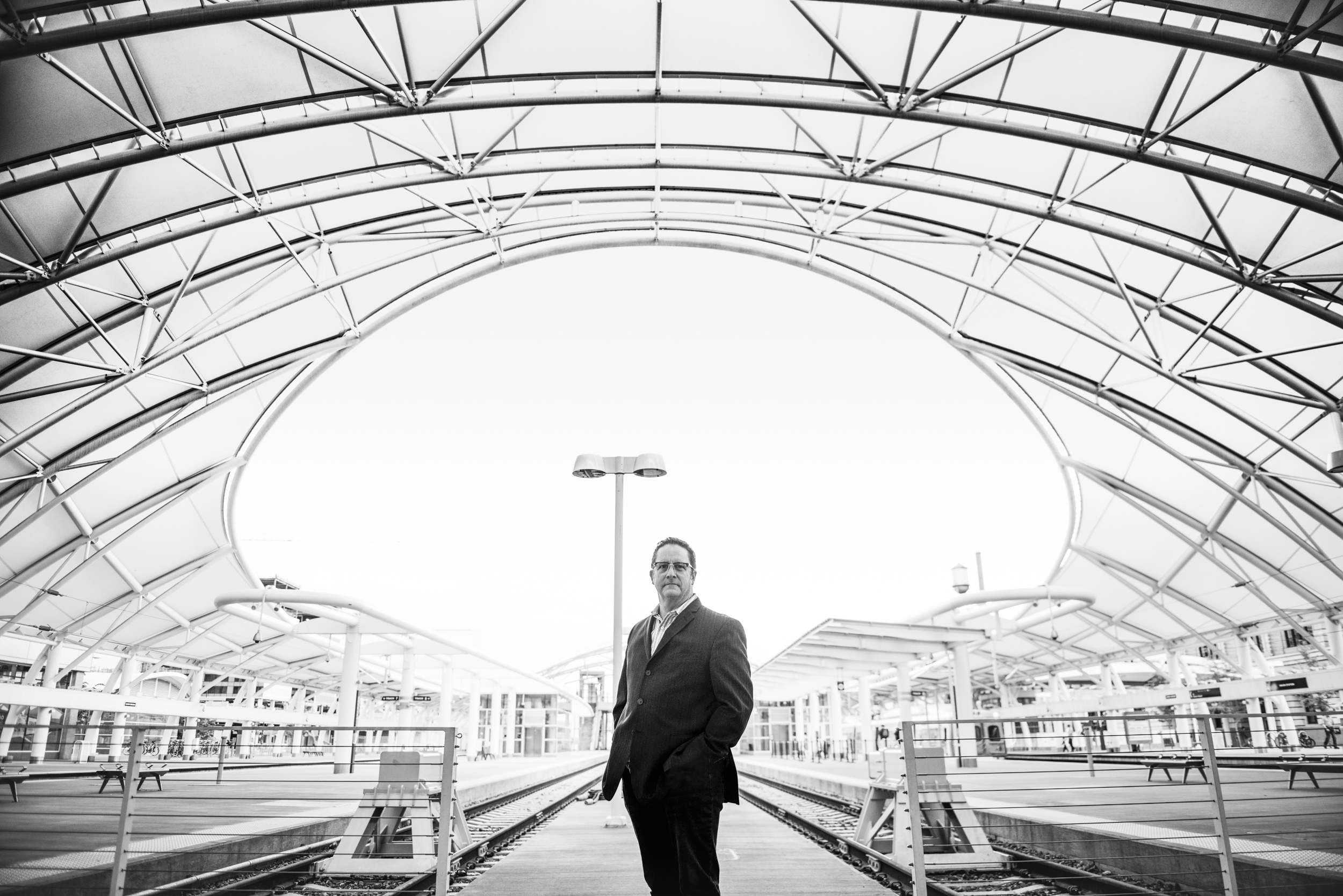 Editorial portrait of a businessman at Union Station in Denver, CO