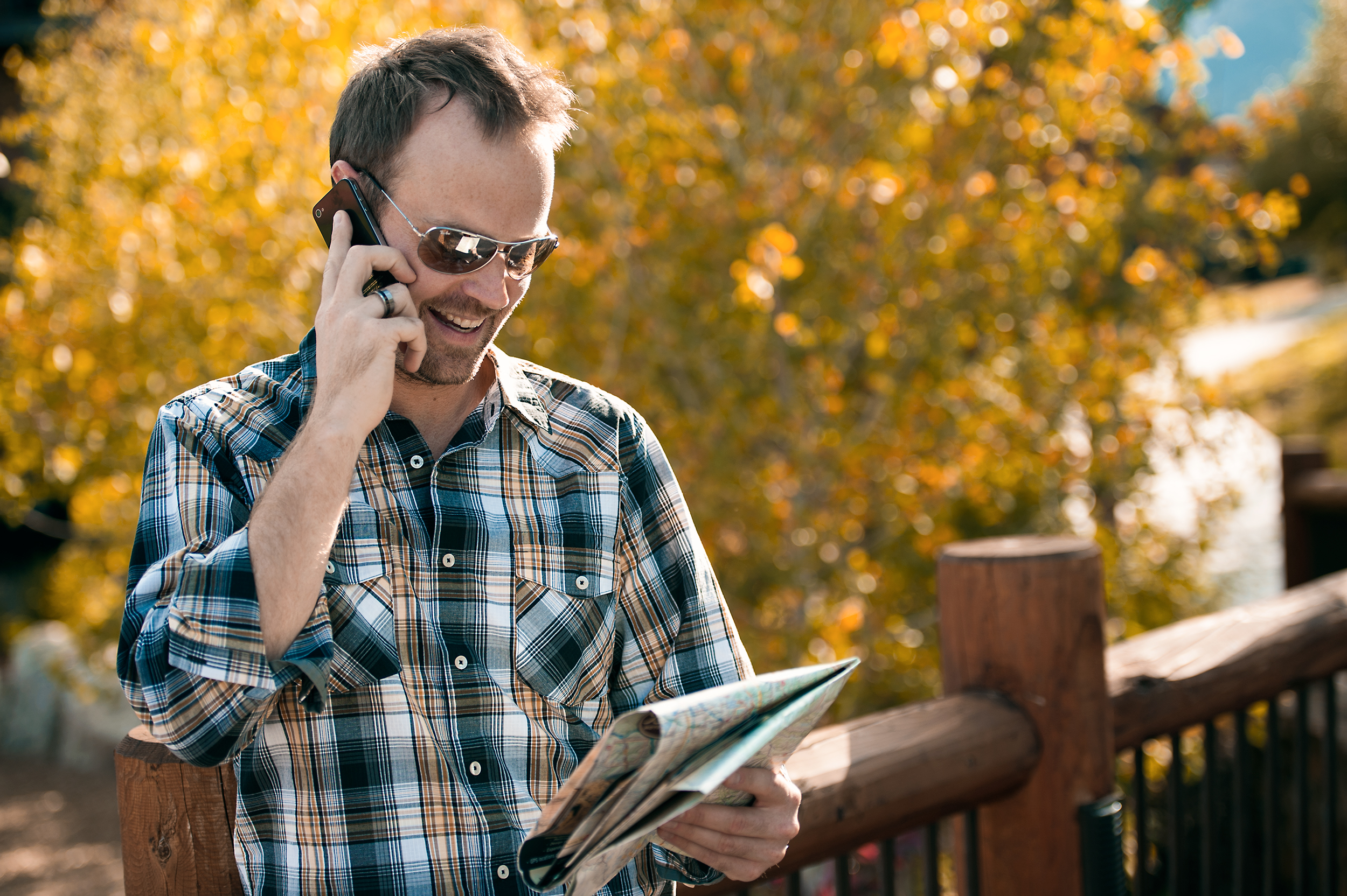 Lifestyle image of a man making plans in Jackson, WY