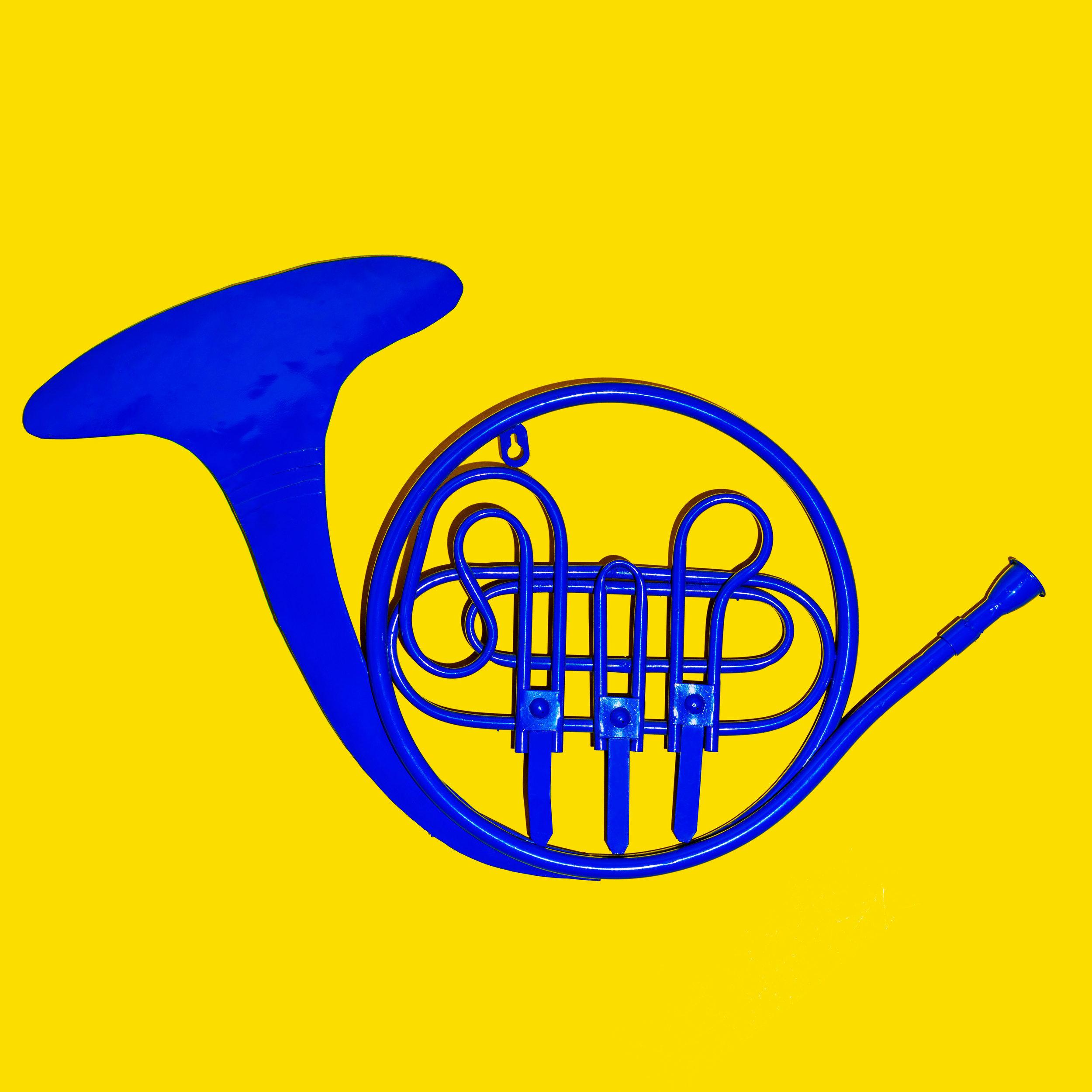 Object still life photo with a HIMYM Blue French Horn