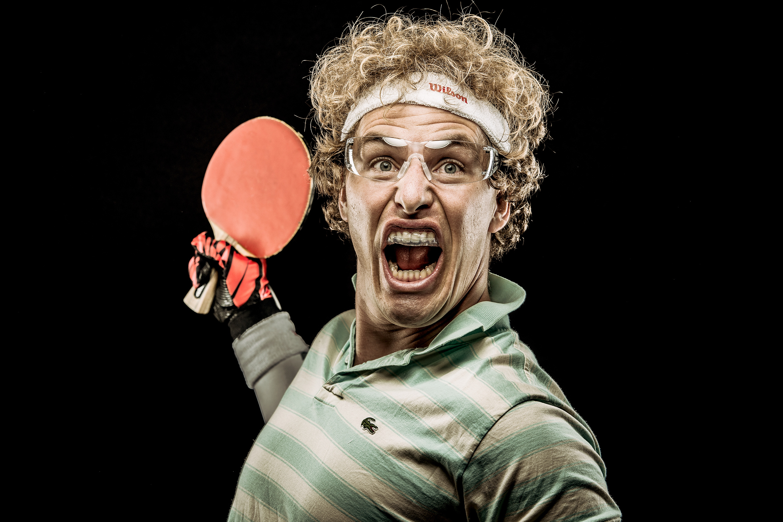 Crazy ping pong player portrait
