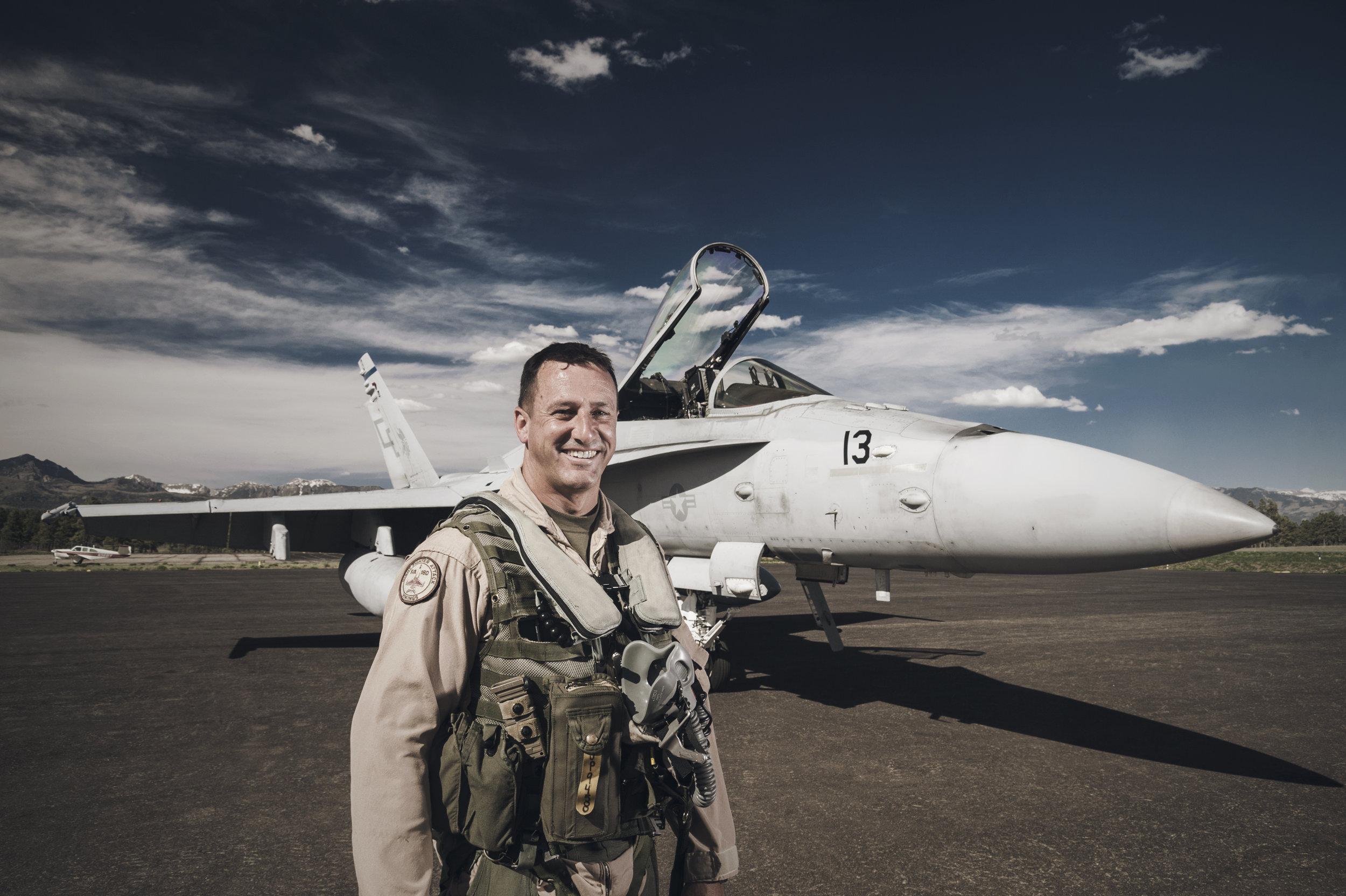 Editorial portrait of an armed forces pilot