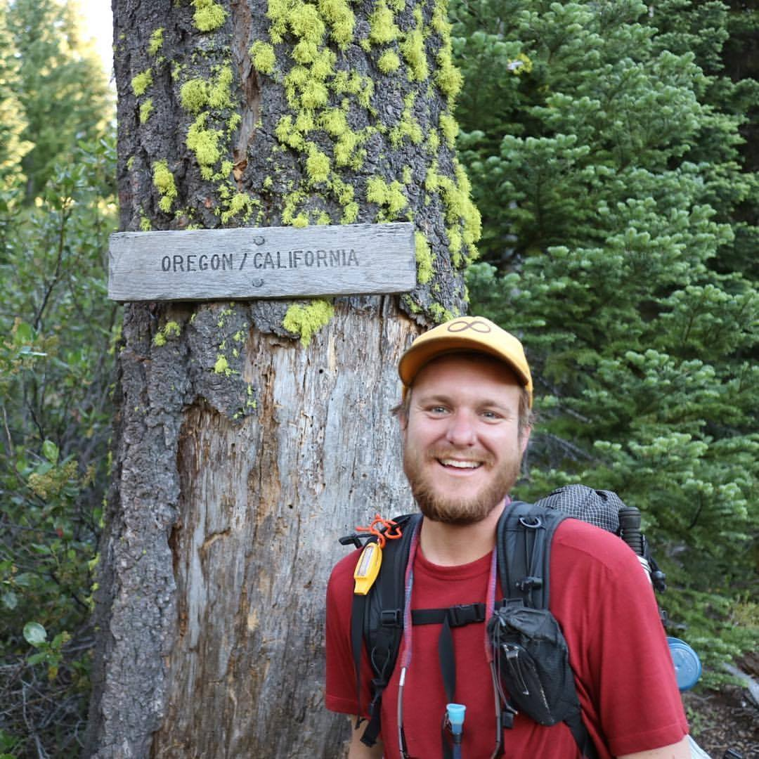 Case reaching the Oregon border on the Pacific Crest Trail, 2016
