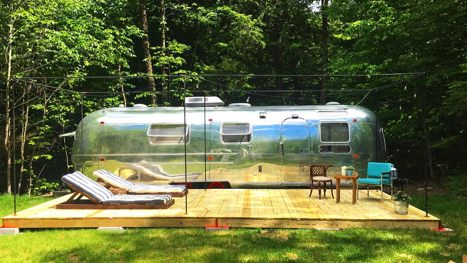 Bucket list item - stay the night in and sunbathe outside our vintage 1973 Airstream