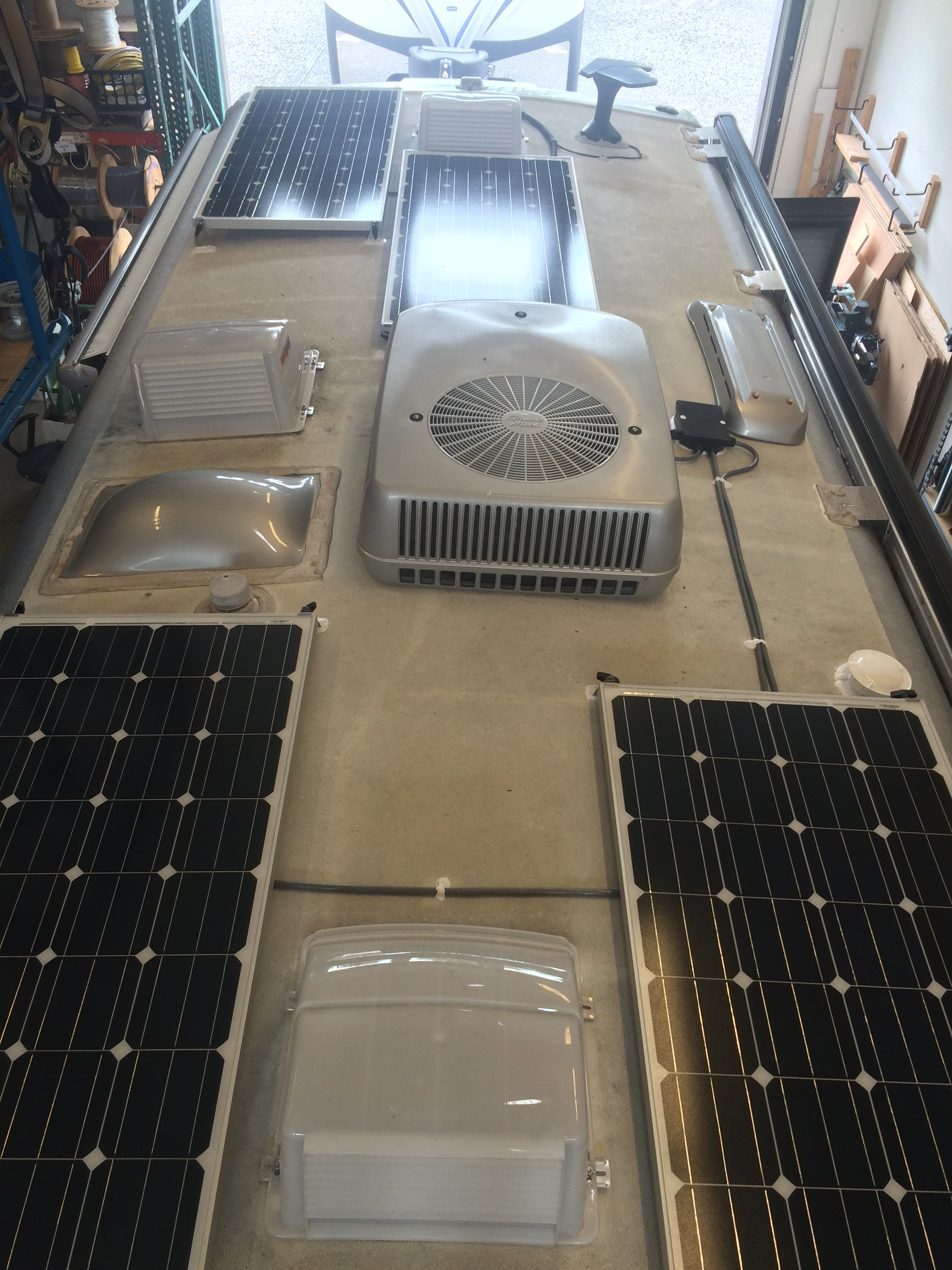 Equipment Added:  4x 160W Solar (sub 6 L-3 hole feet for 6 L-5 hole feet to accommodate curve of roof) 1x Roof C-Box 1x SunRunner Signature MPPT 40A Pro Core 2x 6V 300Ah 6CT AGM Batteries 1x Trik-L-Start 1x Raw 360 siphon sewer vent (we sell these too!)