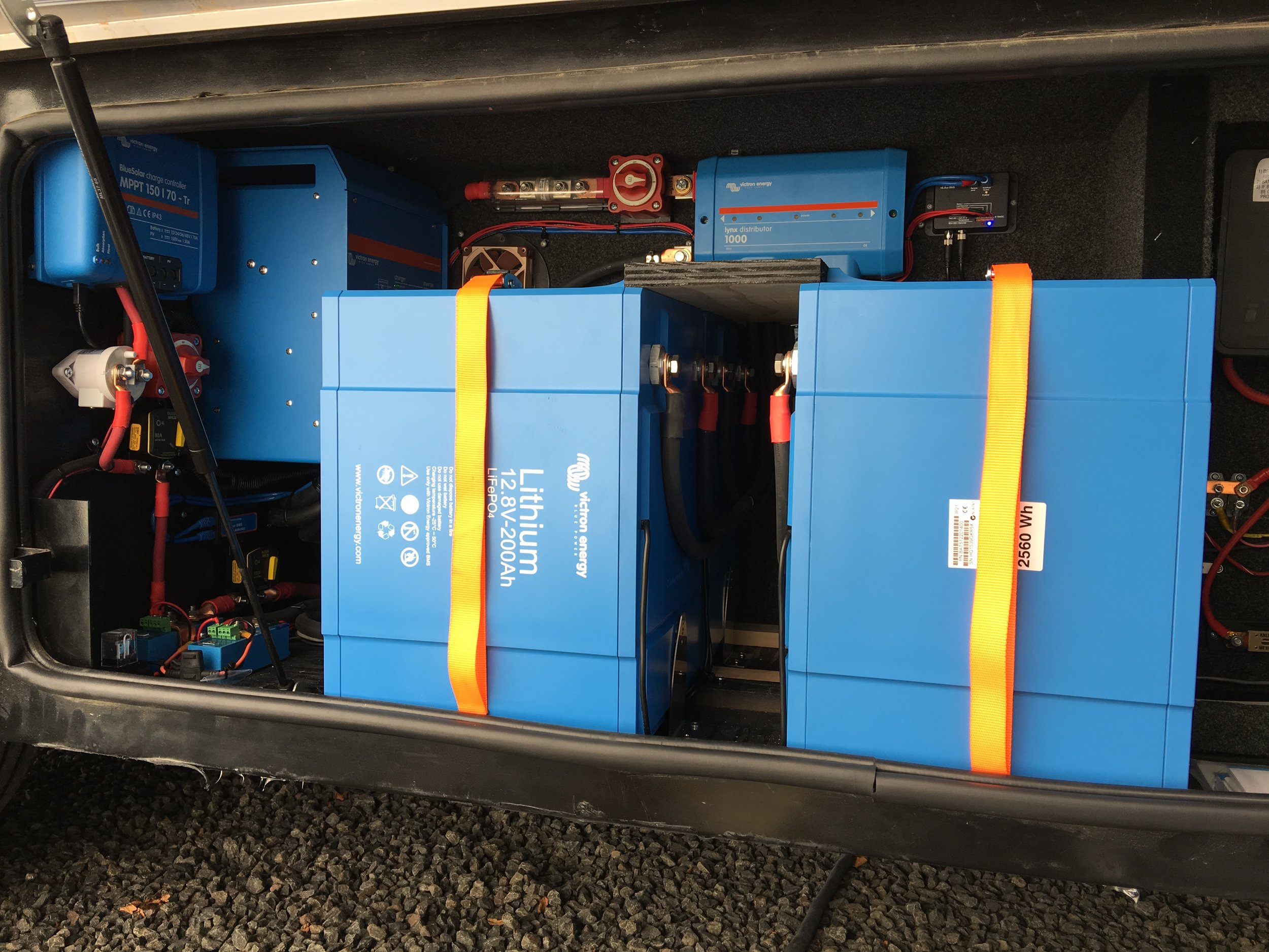 Lithium battery system with inverter and solar charge controller