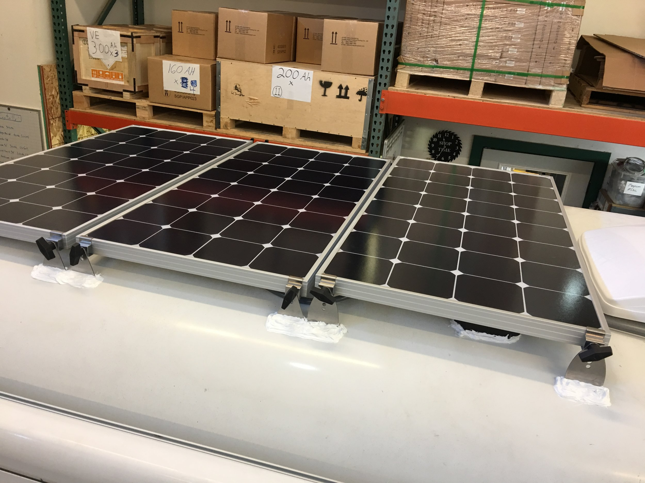 Three of the four SP100 Solar Panels