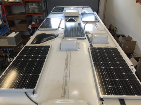 Equipment Added:  8x SF160 Solar Panel Kits 1x Roof C-Box 1x SunRunner Victron MPPT 85A System Core 1x 600Ah Victron Signature Lithium Battery Bank 1x Victron Multiplus 3000VA Inverter/Charger Kit