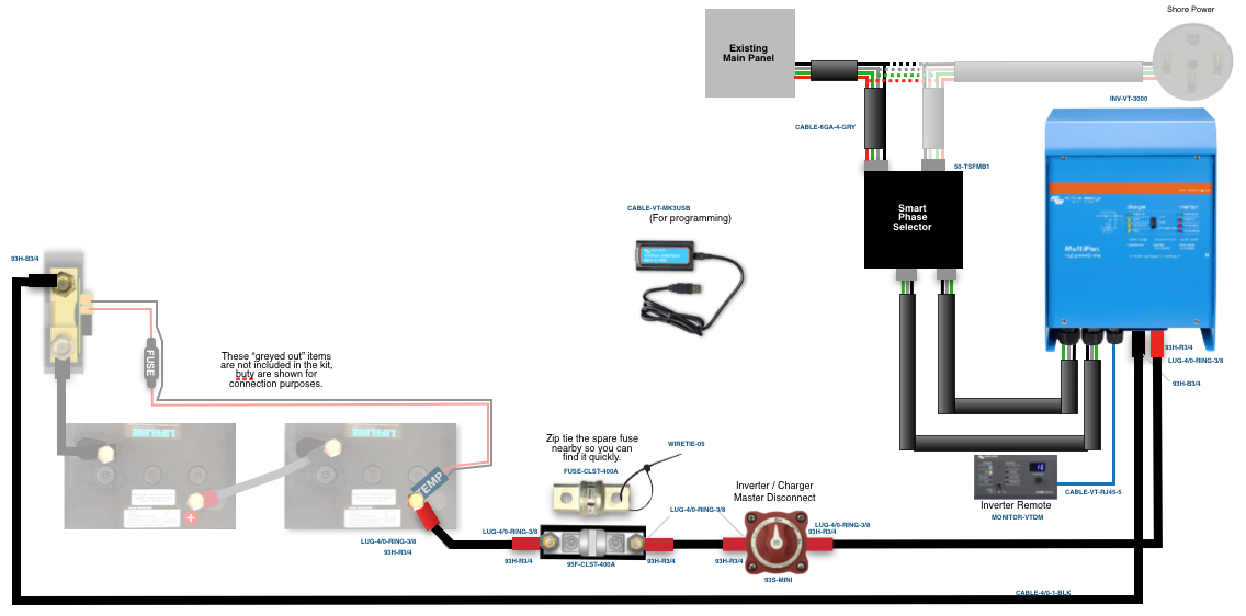 50a multiplus 12 3000 inverter kit with smart phase selector  50 rv wiring diagram split phase inverter #6